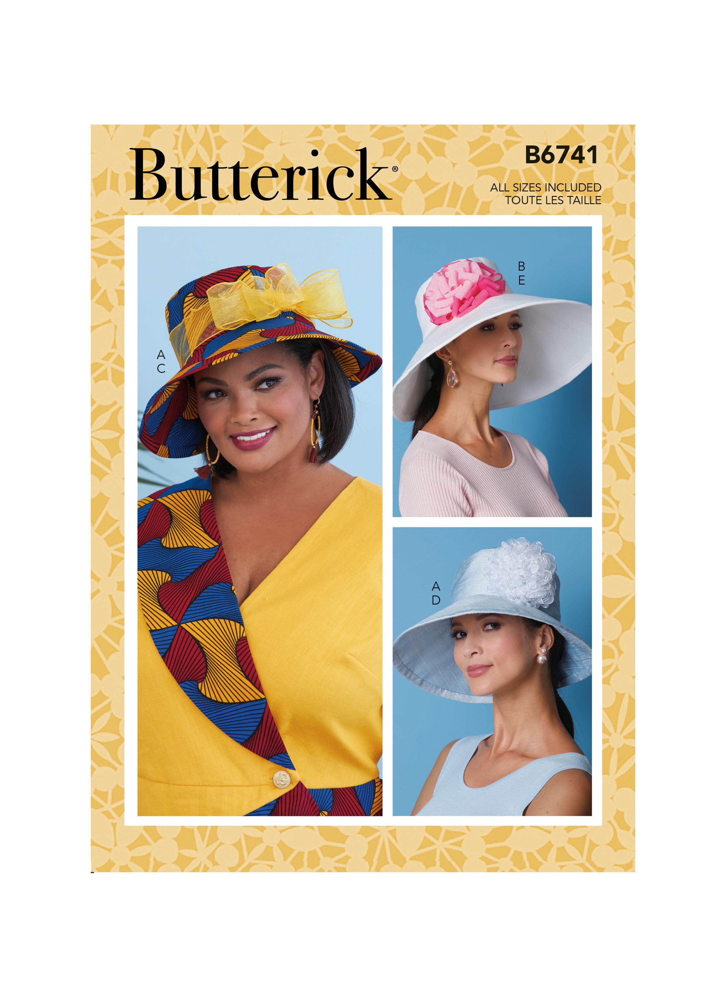 Butterick B6741 Misses' Hats With Ribbon, Flowers & Bow