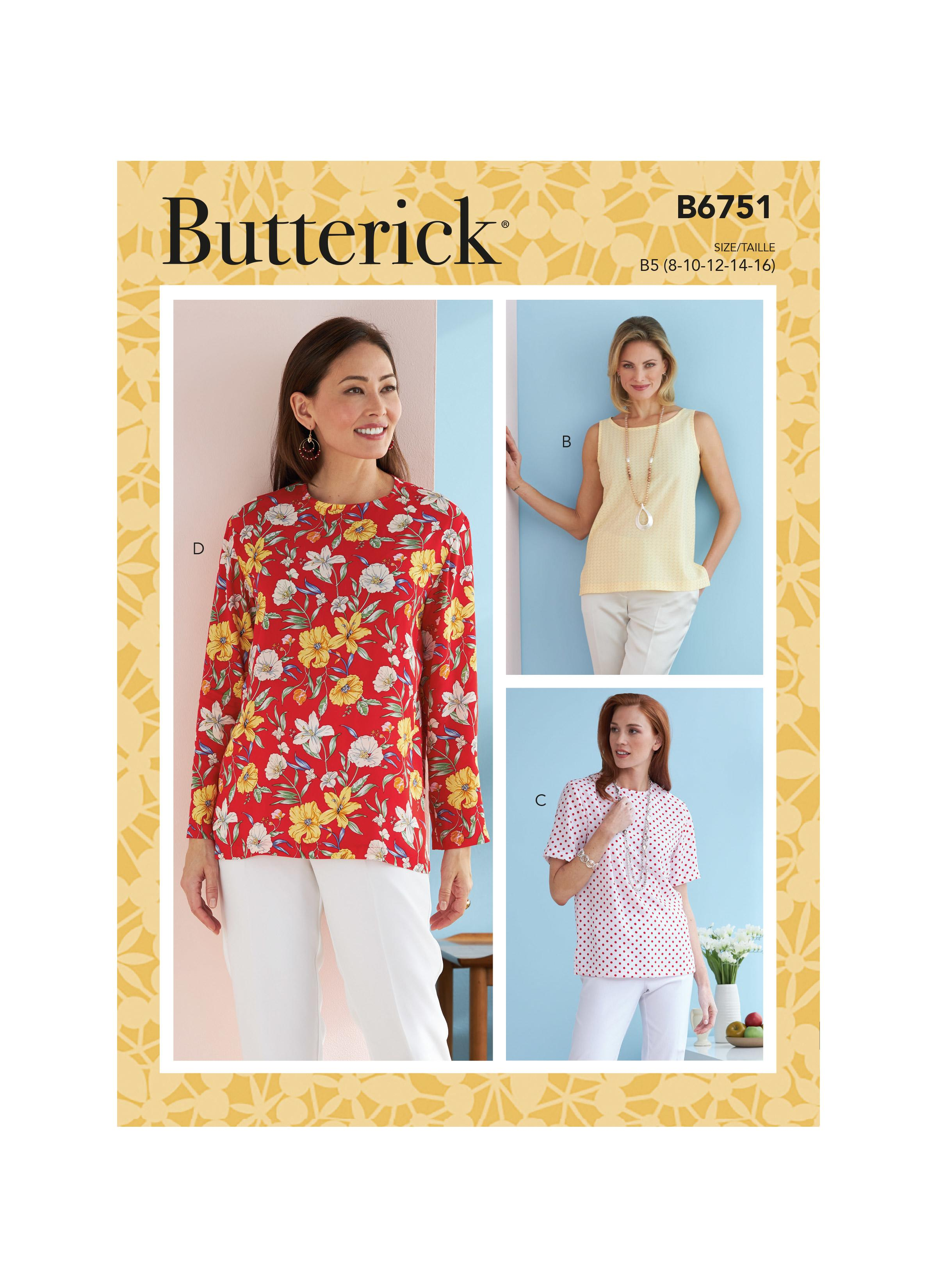 Butterick B6751 Misses'/Misses' Petite Pullover Tops