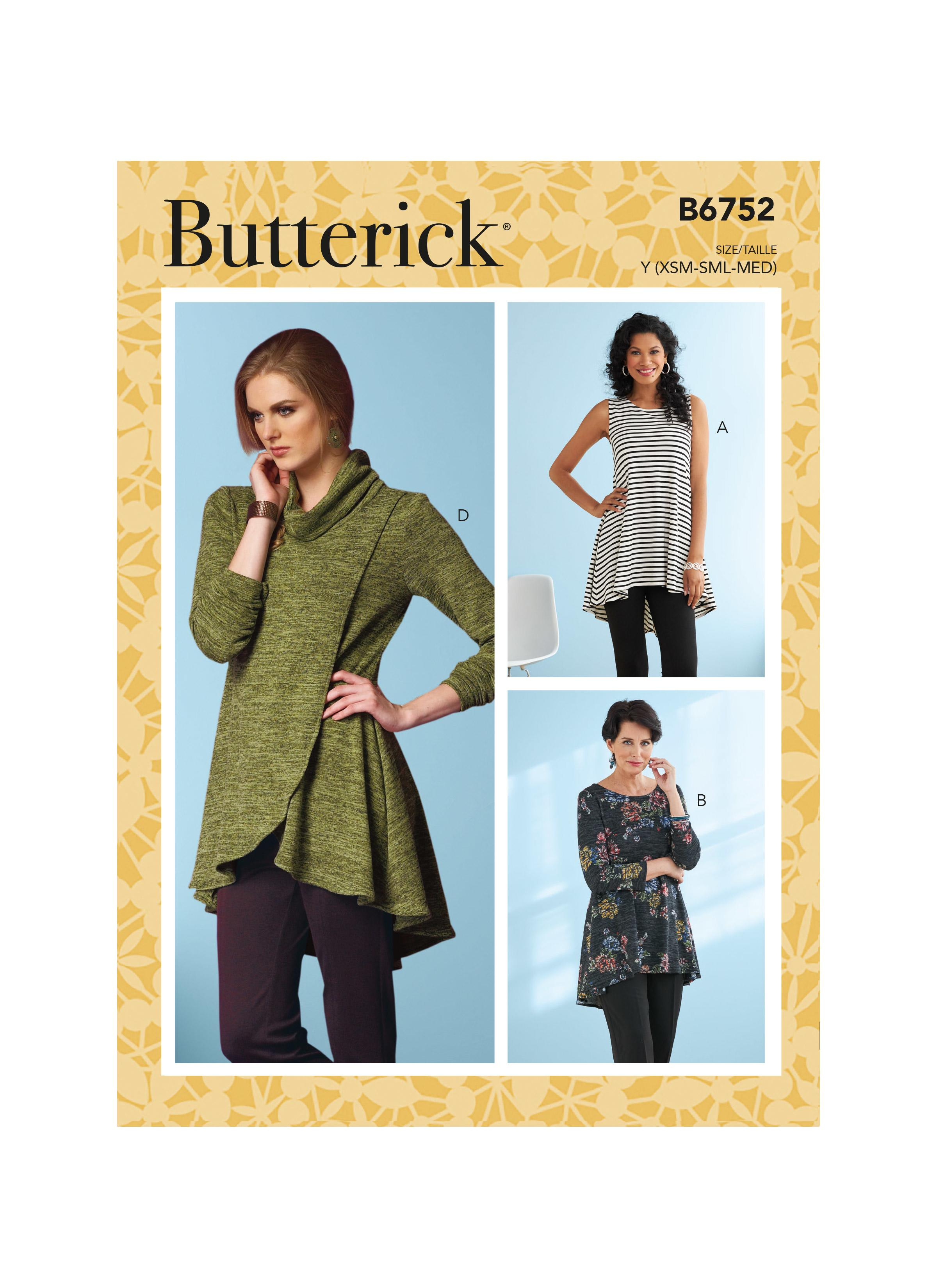 Butterick B6752 Misses' Fit and Flare Knit Tunics