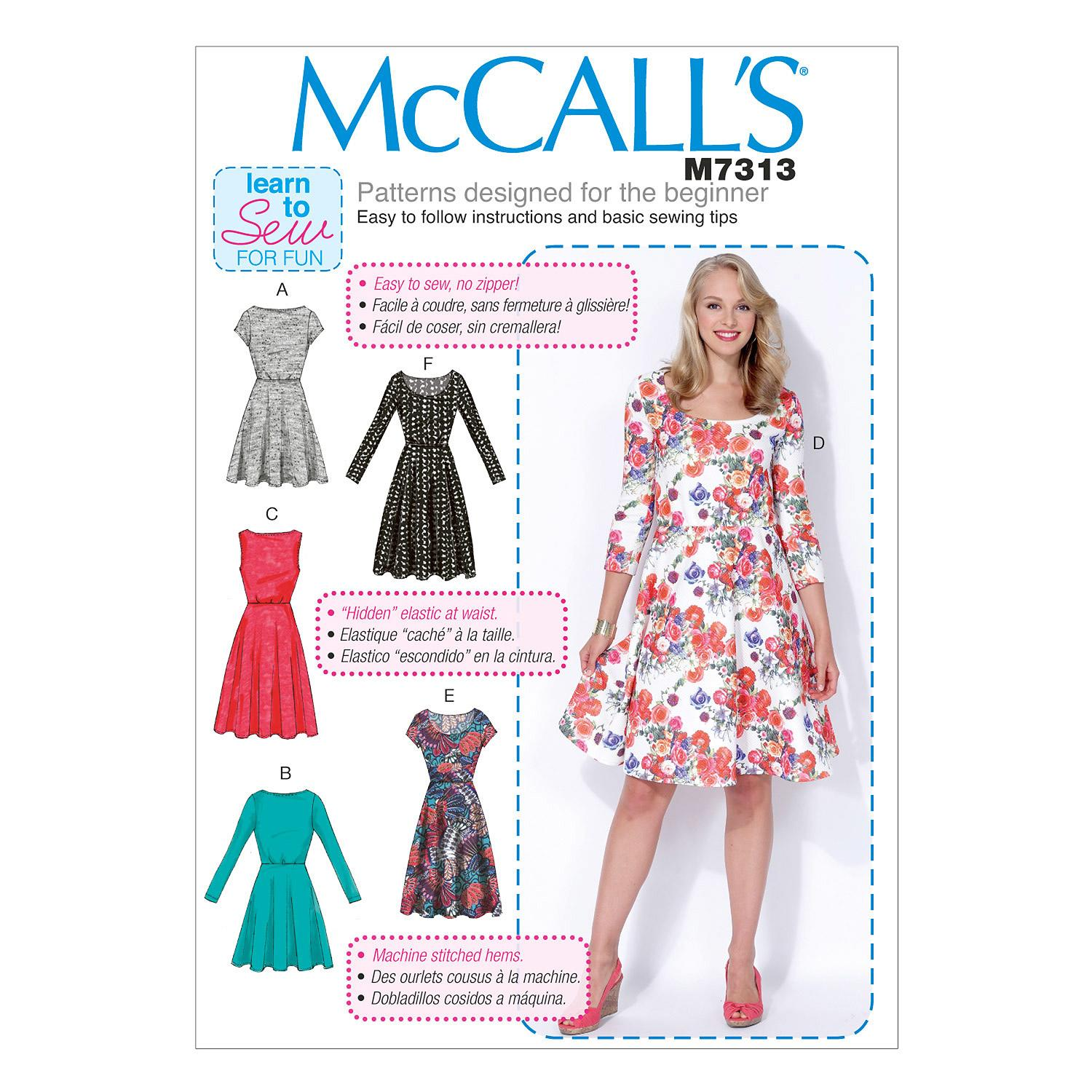 McCalls M7313 Dresses, Learn To Sew for Fun, Plus Size