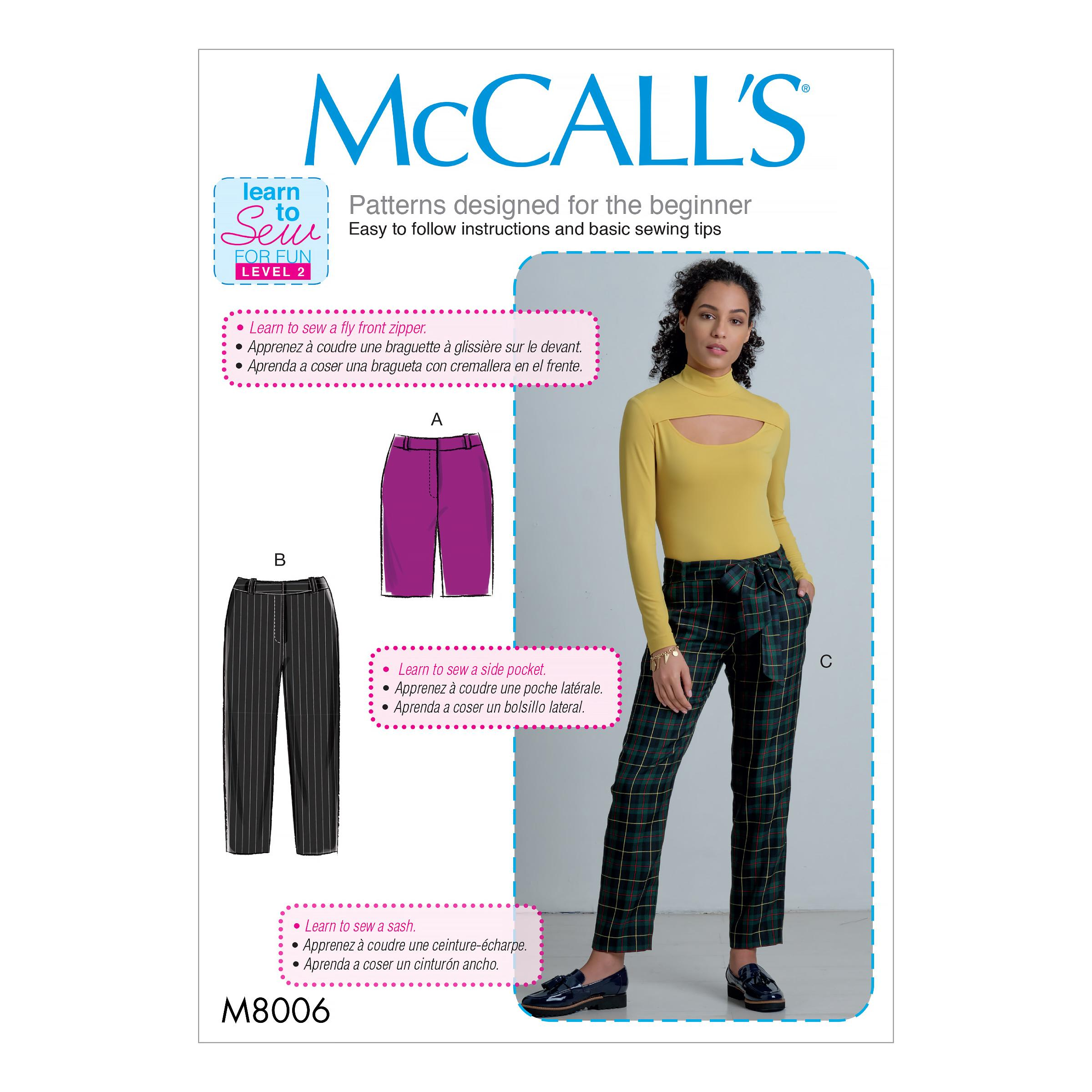 McCalls M8006 Misses Pants, Jumpsuits & Shorts