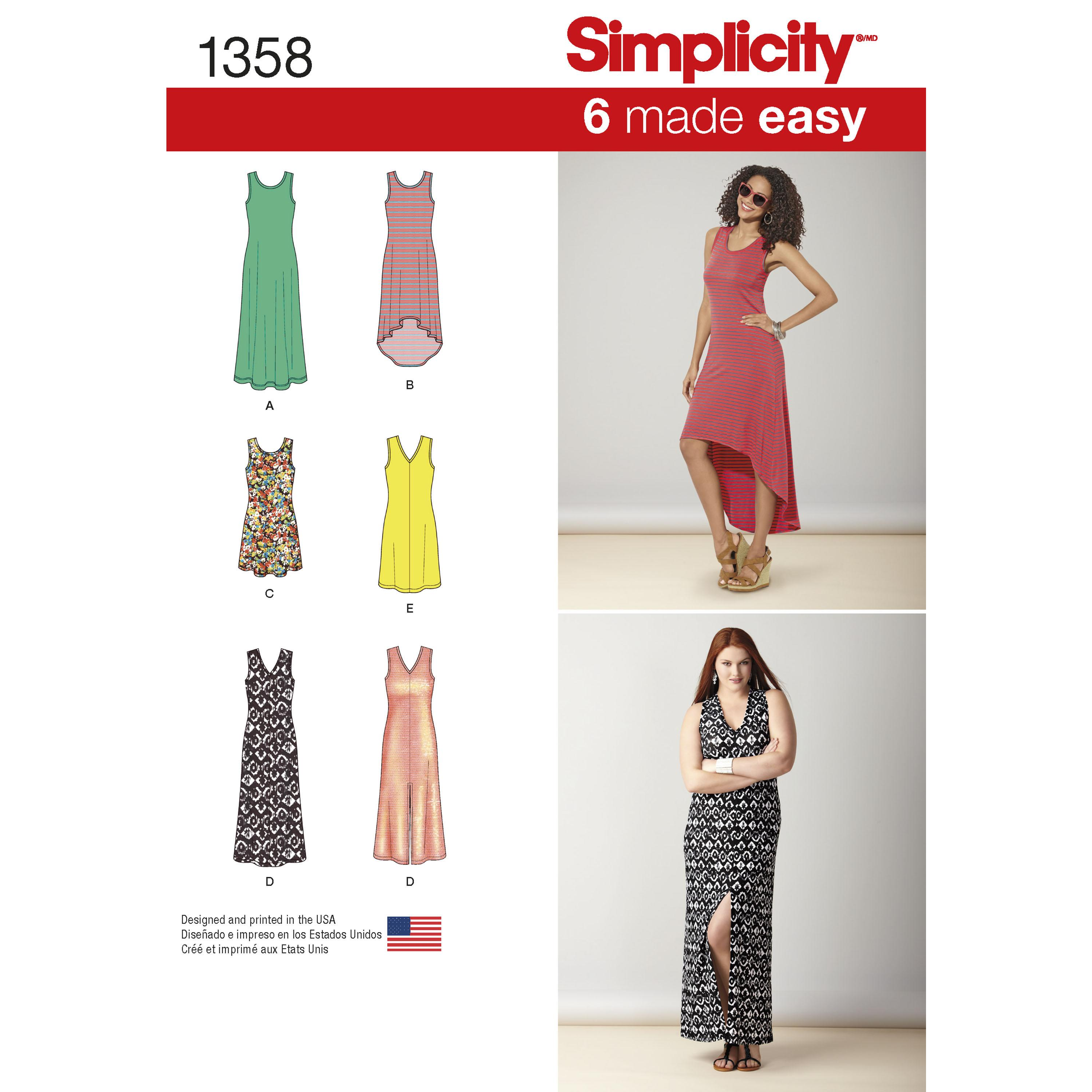 Simplicity S1358 Women's Knit Dresses with Length and Neckline Variations