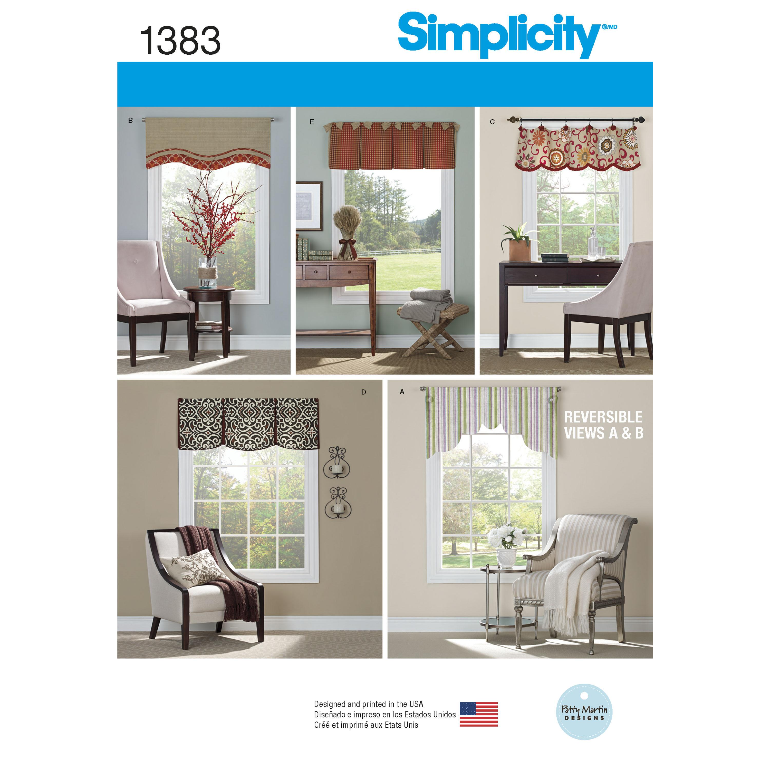 "Simplicity S1383 Valances for 36"" to 40"" Wide Windows"