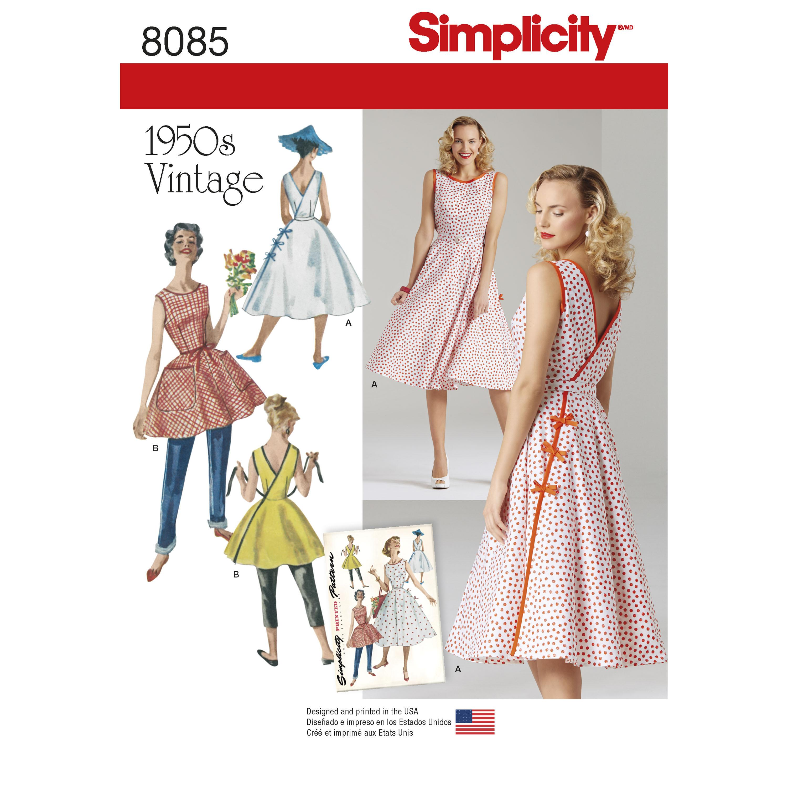Simplicity S8085 Women's Vintage 1950's Wrap Dress in Two Lengths