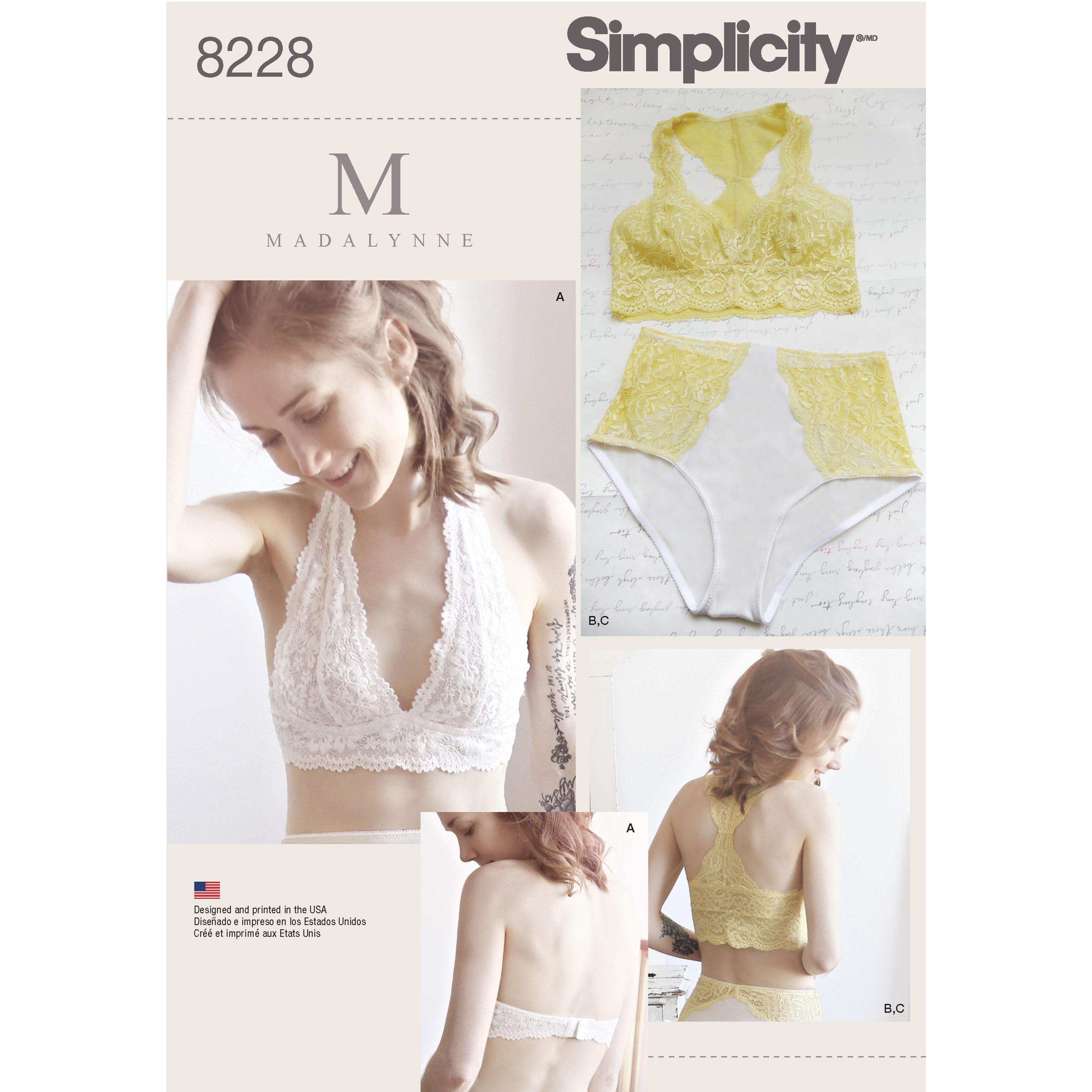 Simplicity S8228 Women's Soft Cup Bras and Panties