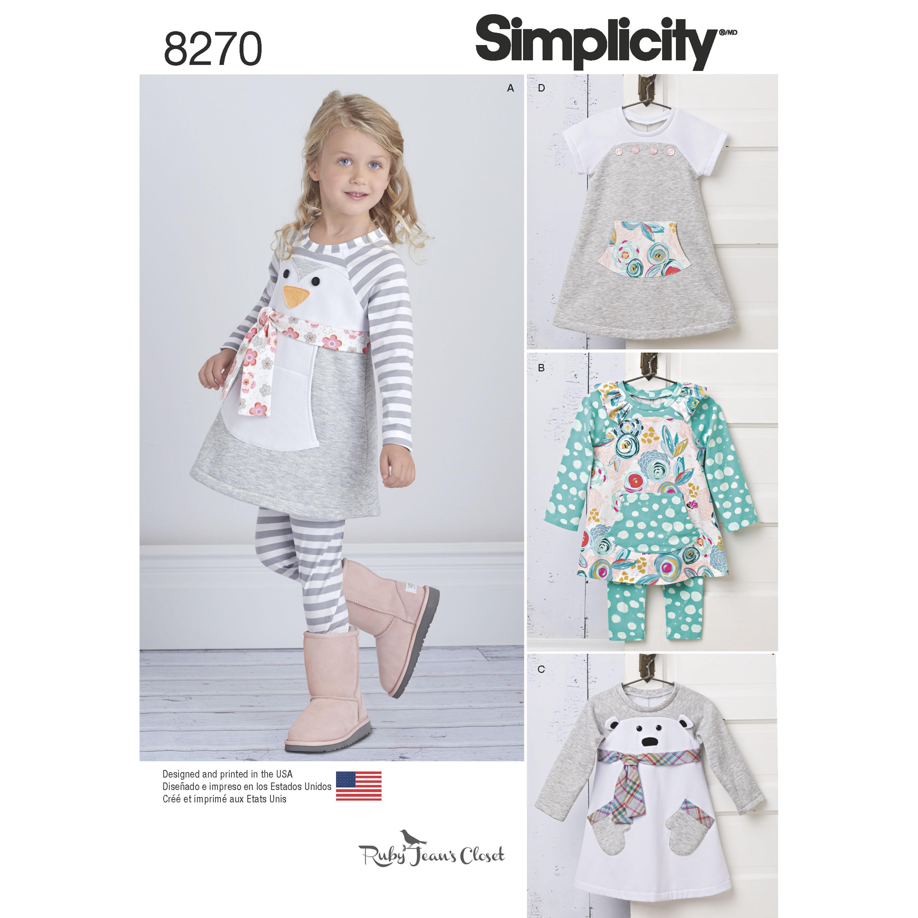 Simplicity S8270 Toddlers' Knit Sportswear from Ruby Jean's Closet