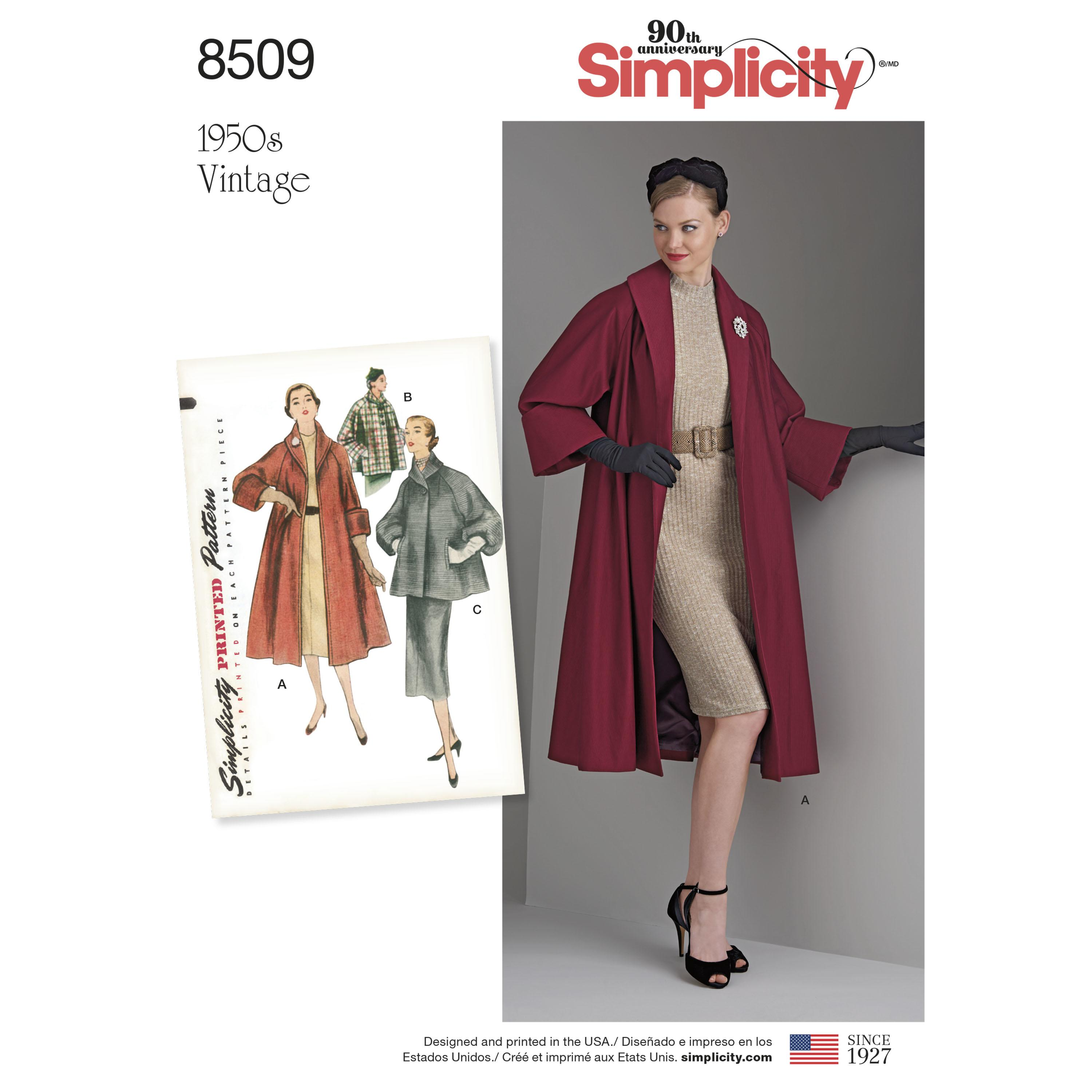 Simplicity S8509 Misses' Vintage Coat or Jacket