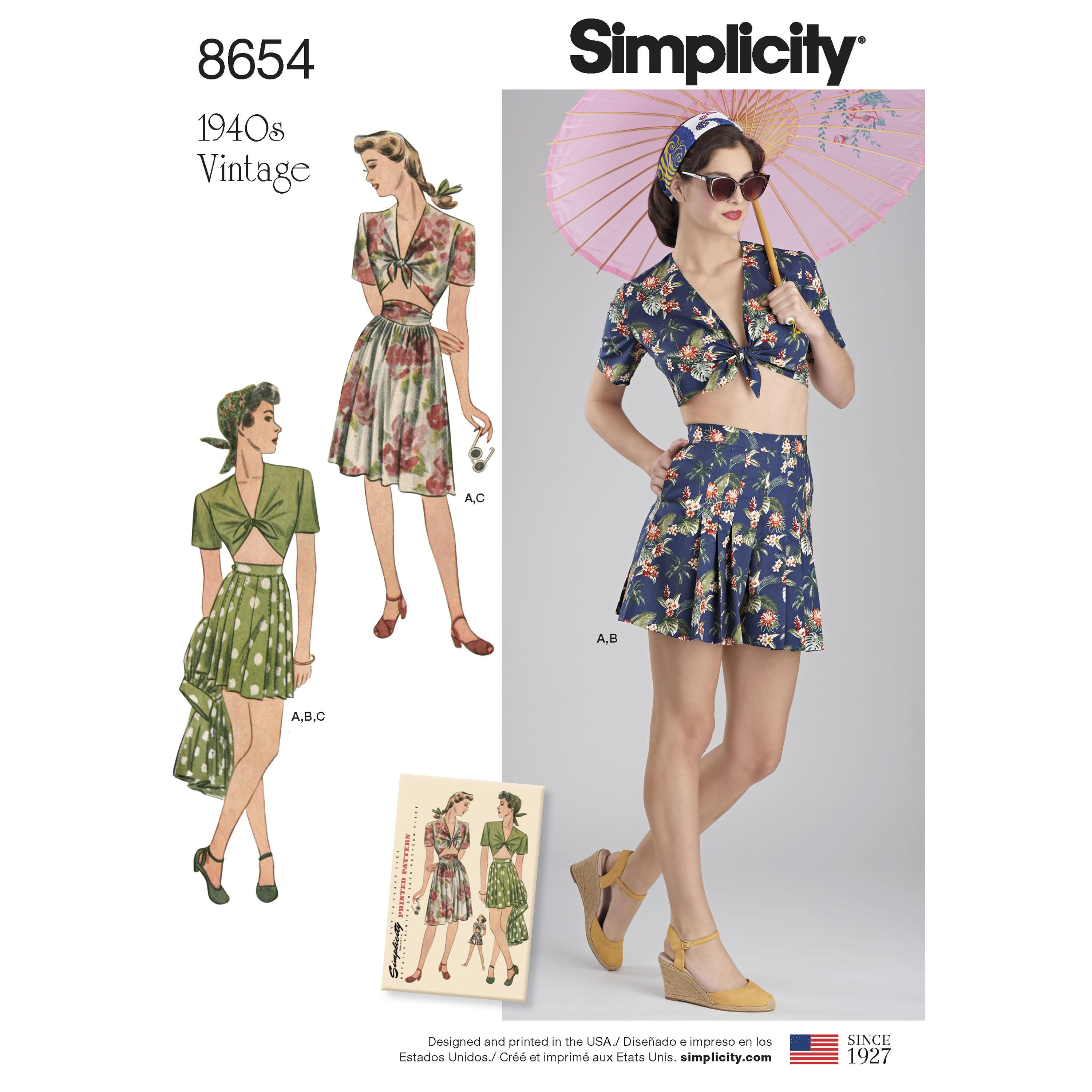 Simplicity S8654 Womens Vintage Skirt, Shorts and Tie Top