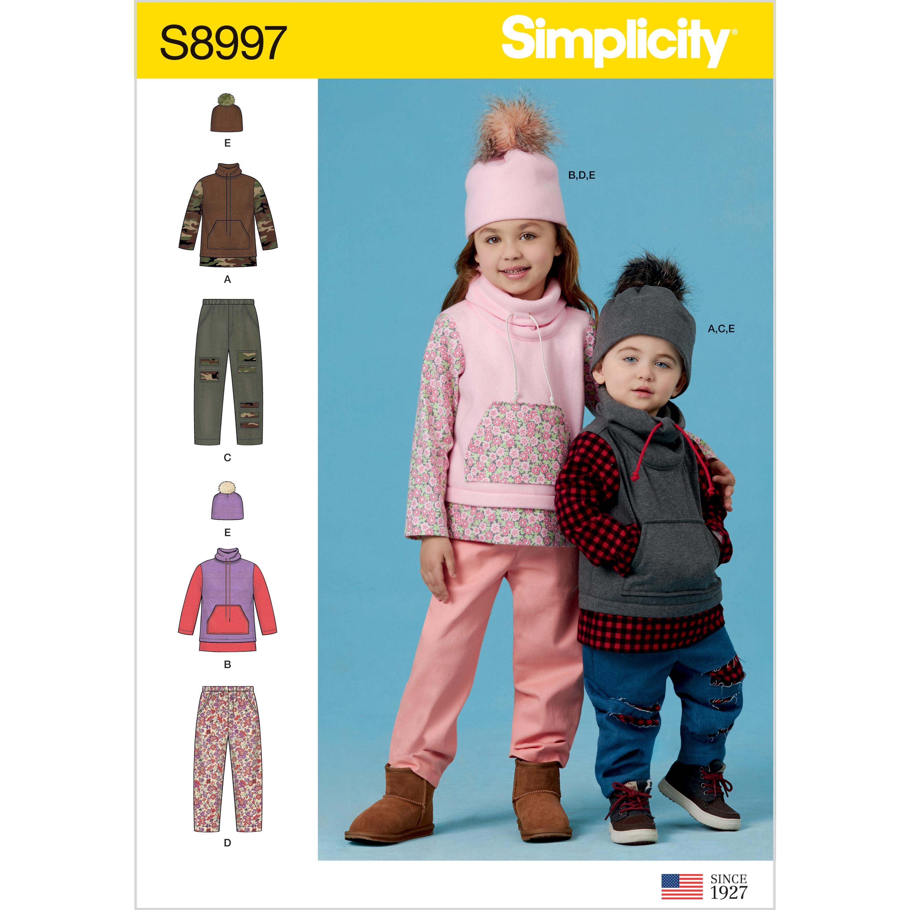 Simplicity S8997 Toddlers' and Children's Pants, Knit Top and Hat