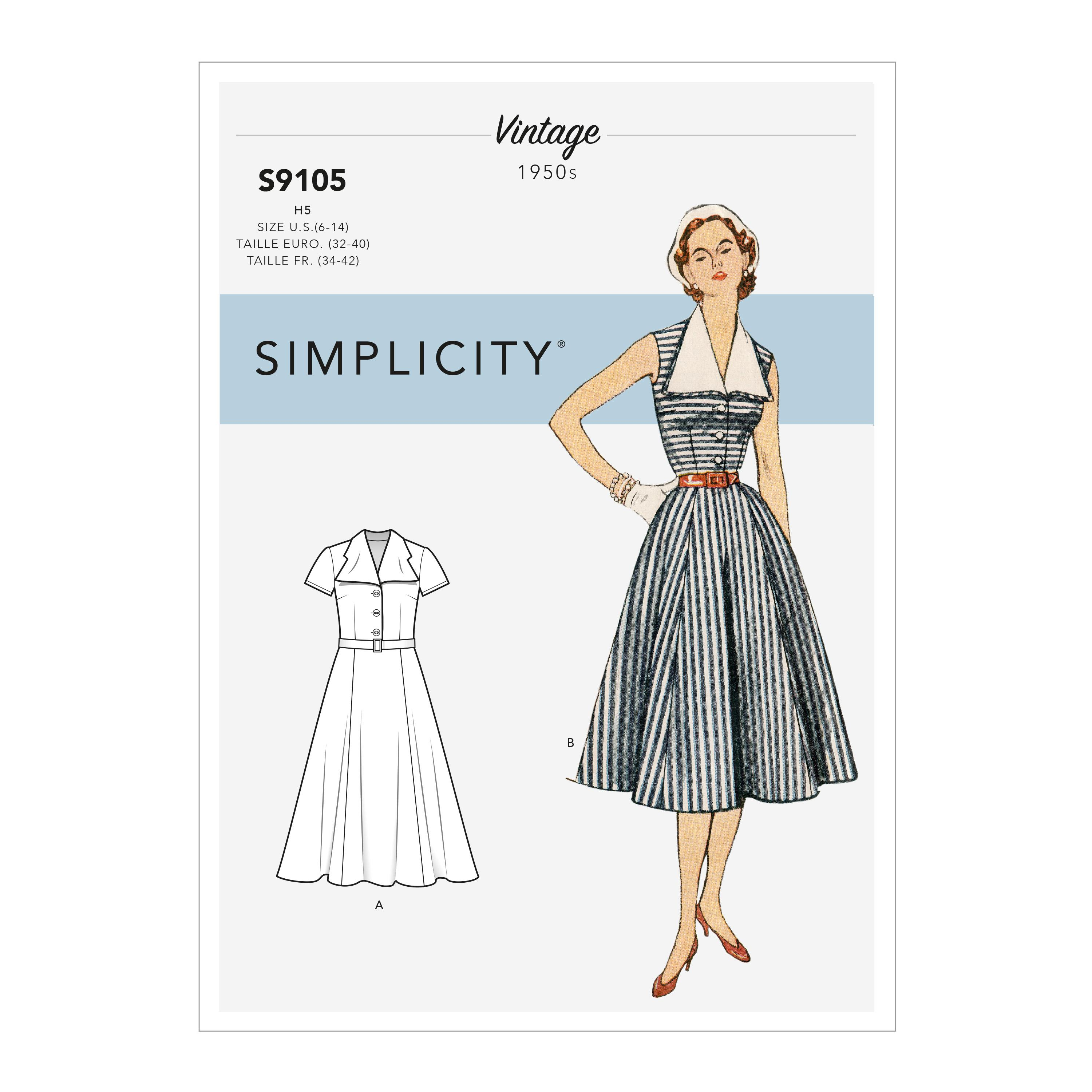 Simplicity S9105 Misses' Vintage Dress With Detachable Collar