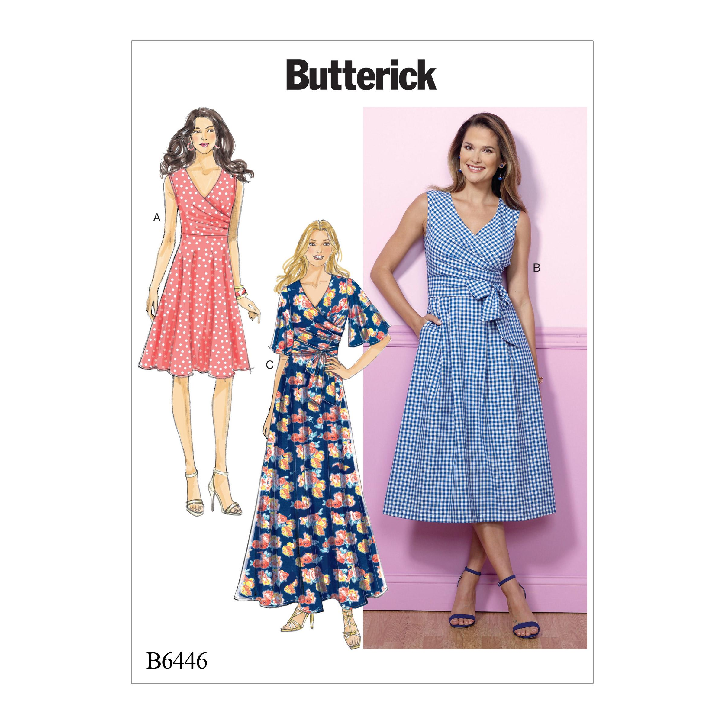 Butterick B6446 Misses' Pleated Wrap Dresses with Sash