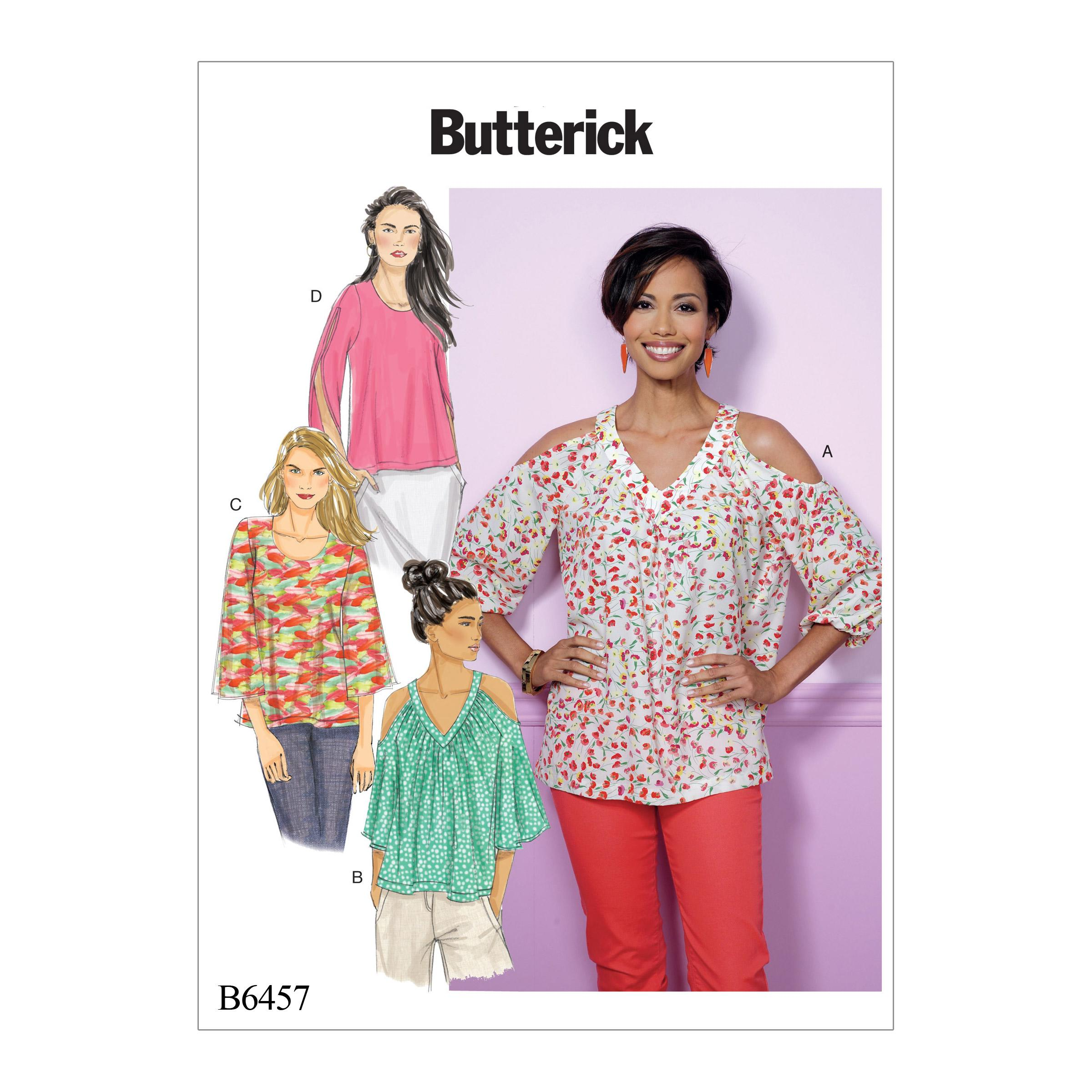 Butterick B6457 Misses' V-Neck or Scoopneck, Cold-Shoulder Tops