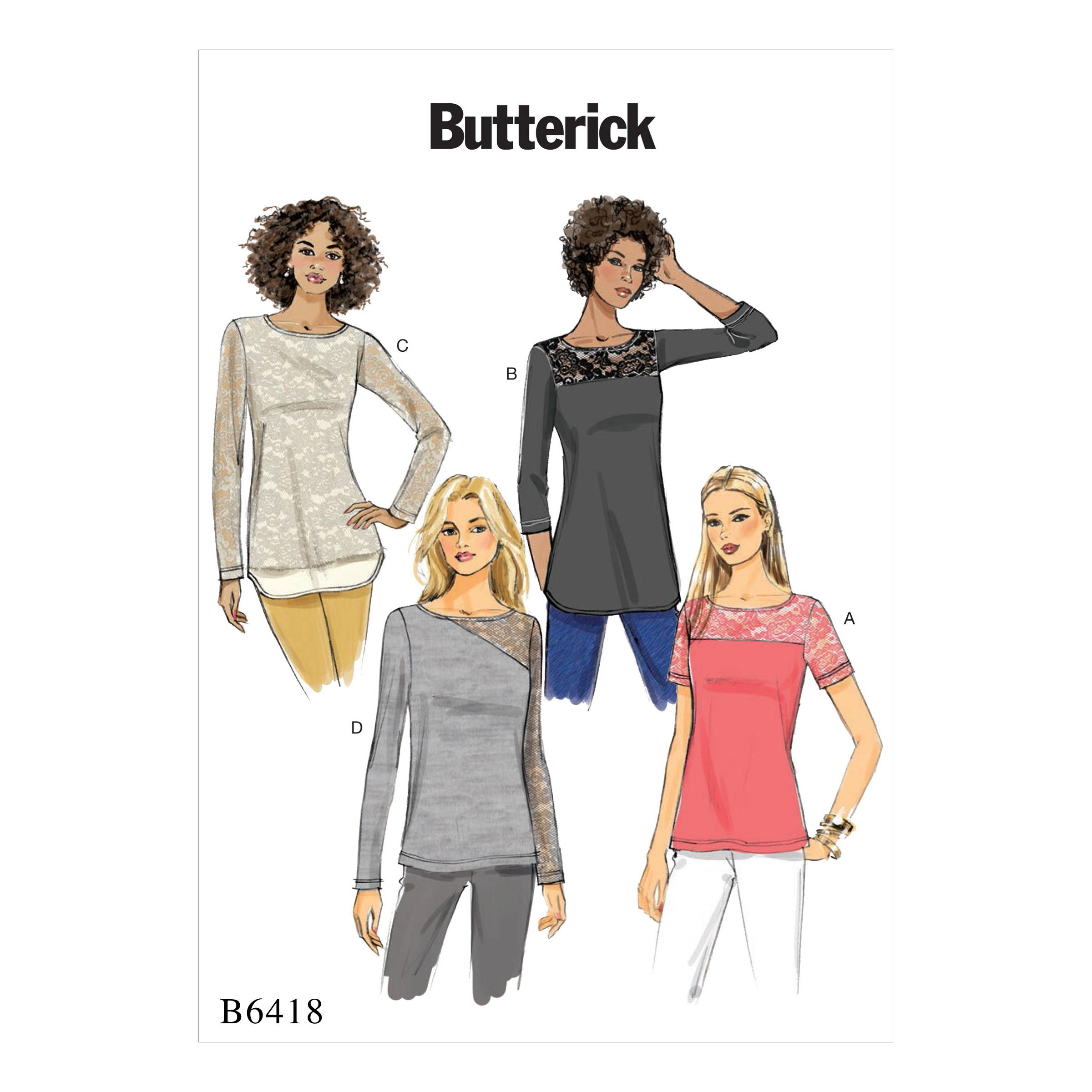 Butterick B6418 Misses' Knit, Lace-Detail Tops