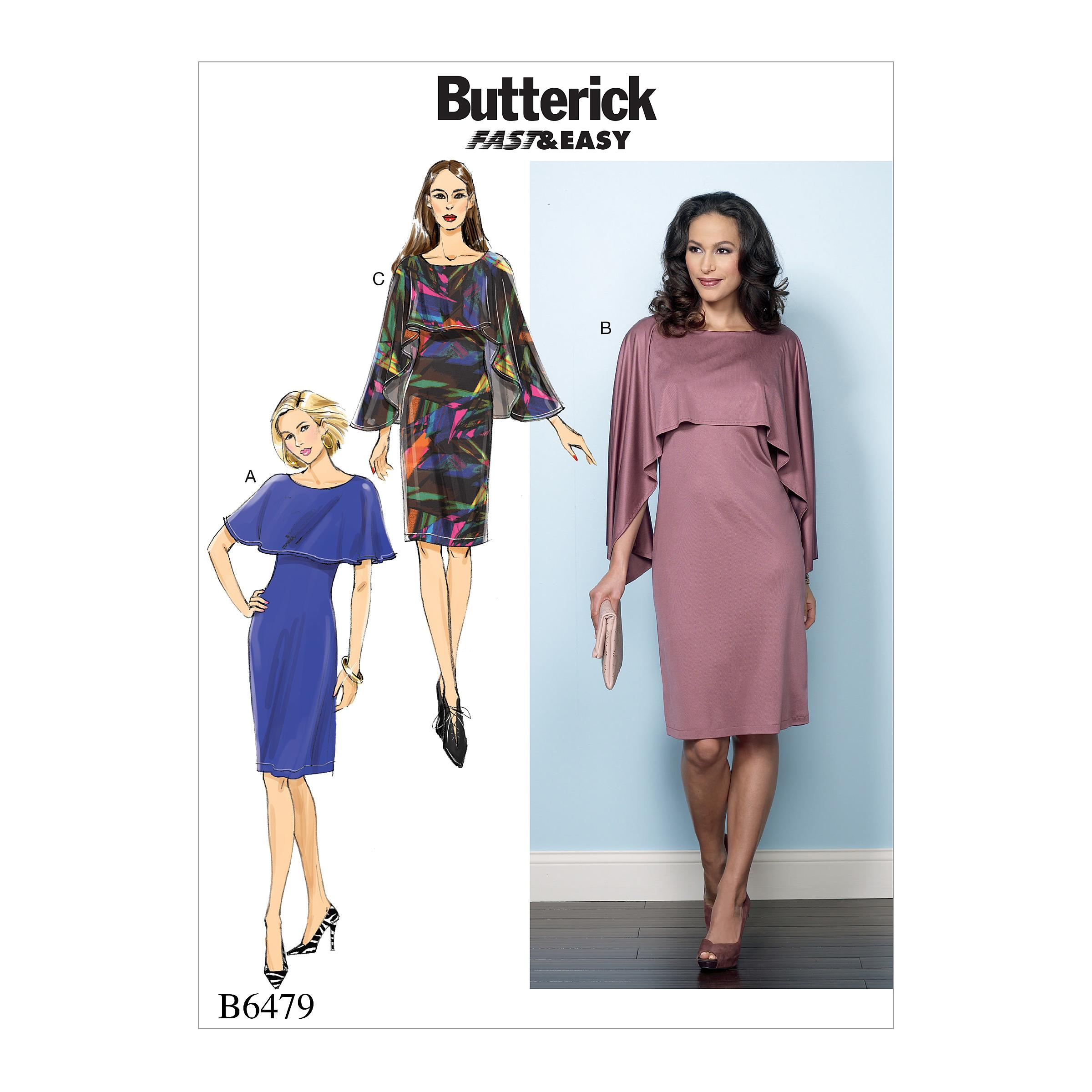Butterick B6479 Misses' Pullover Dresses with Attached Capelets