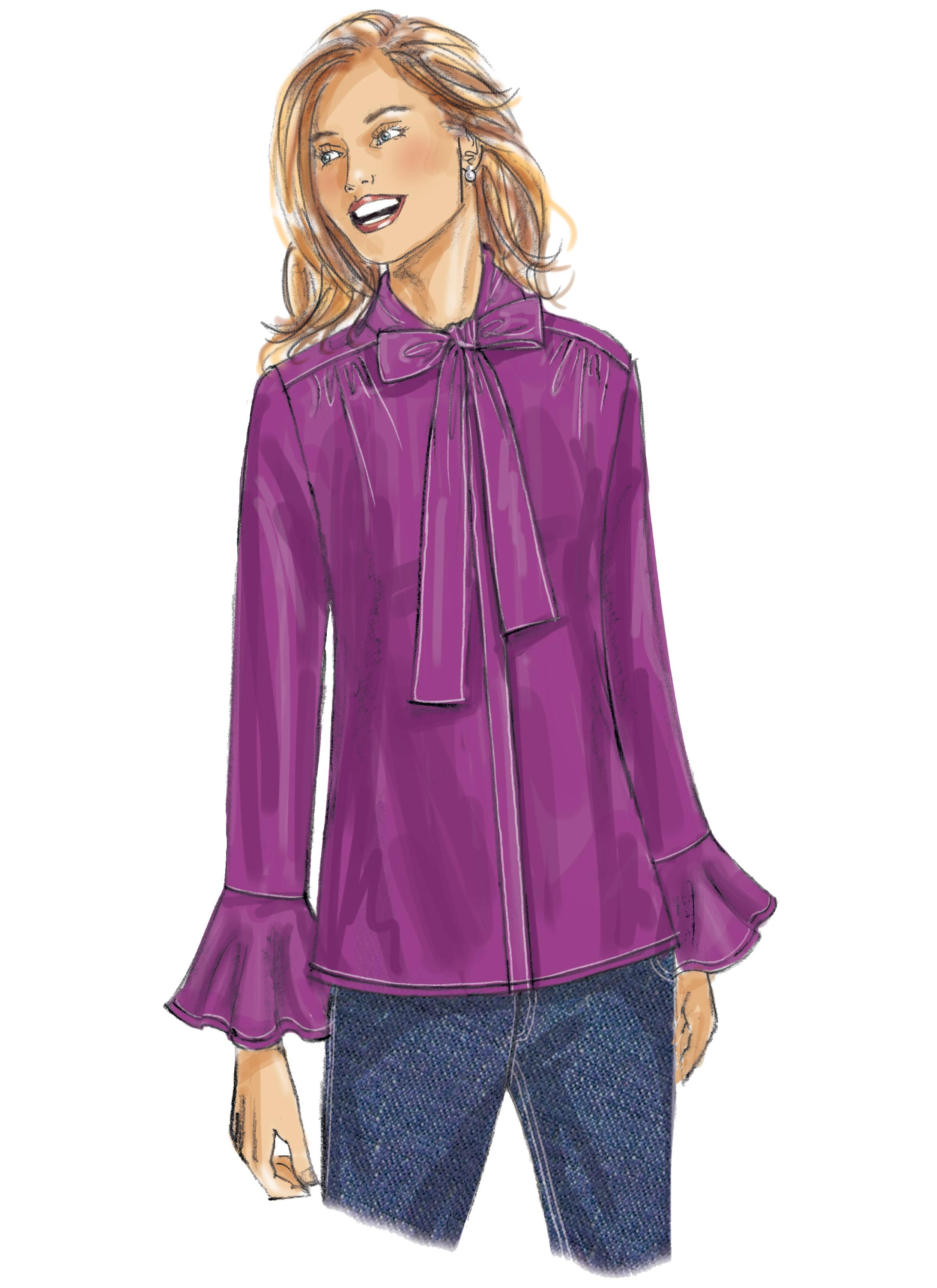 Butterick B6488 Misses' Tops with Neckline and Sleeve Variations