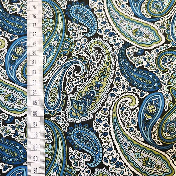 Blue and Green Paisley Print on Black Cotton Lawn