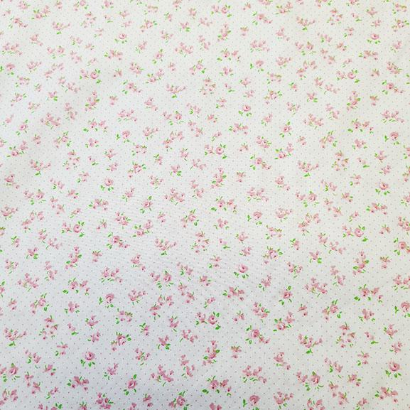 Small Pink Flowers on Cream Poplin
