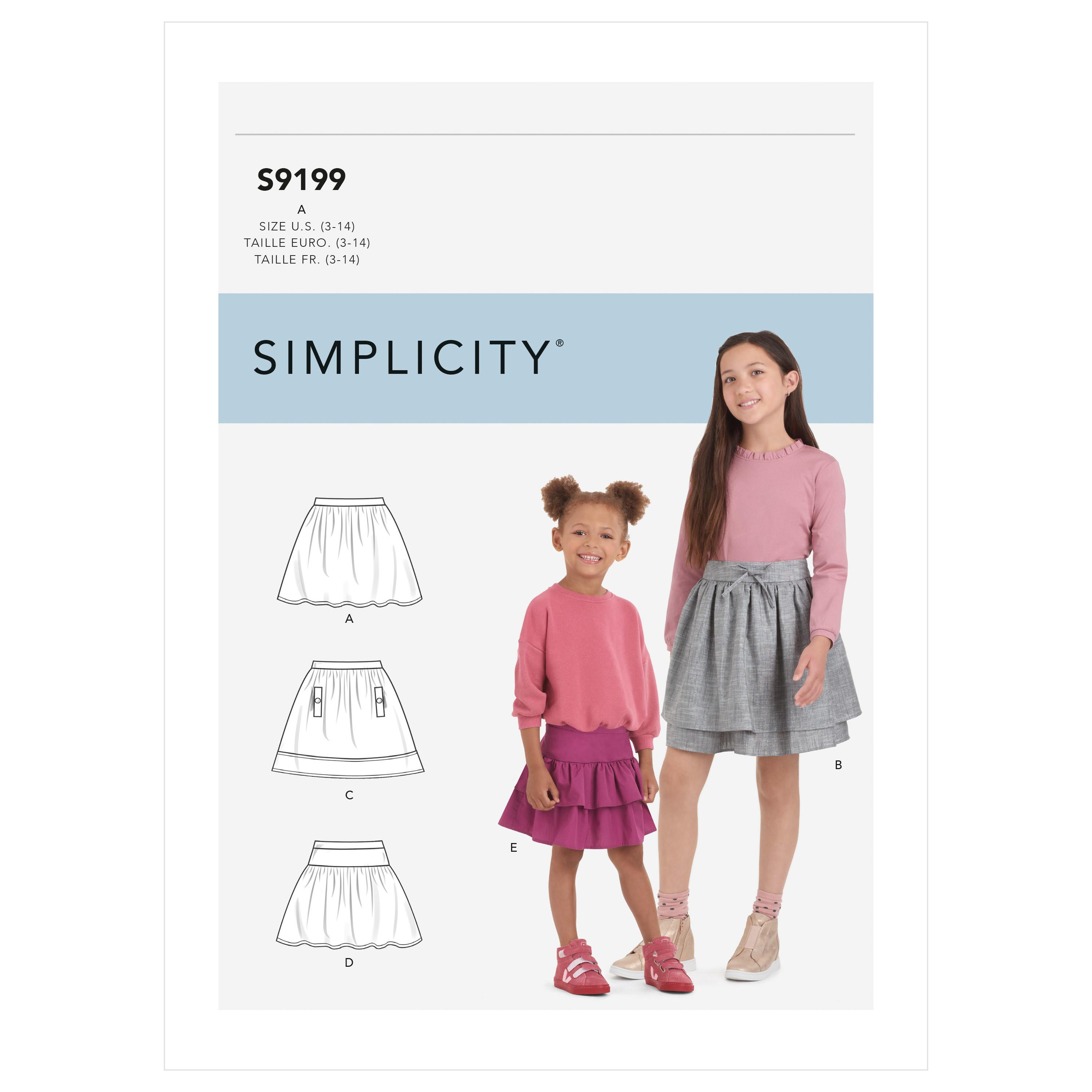 Simplicity Sewing Pattern S9199 Children's & Girls' Skirts