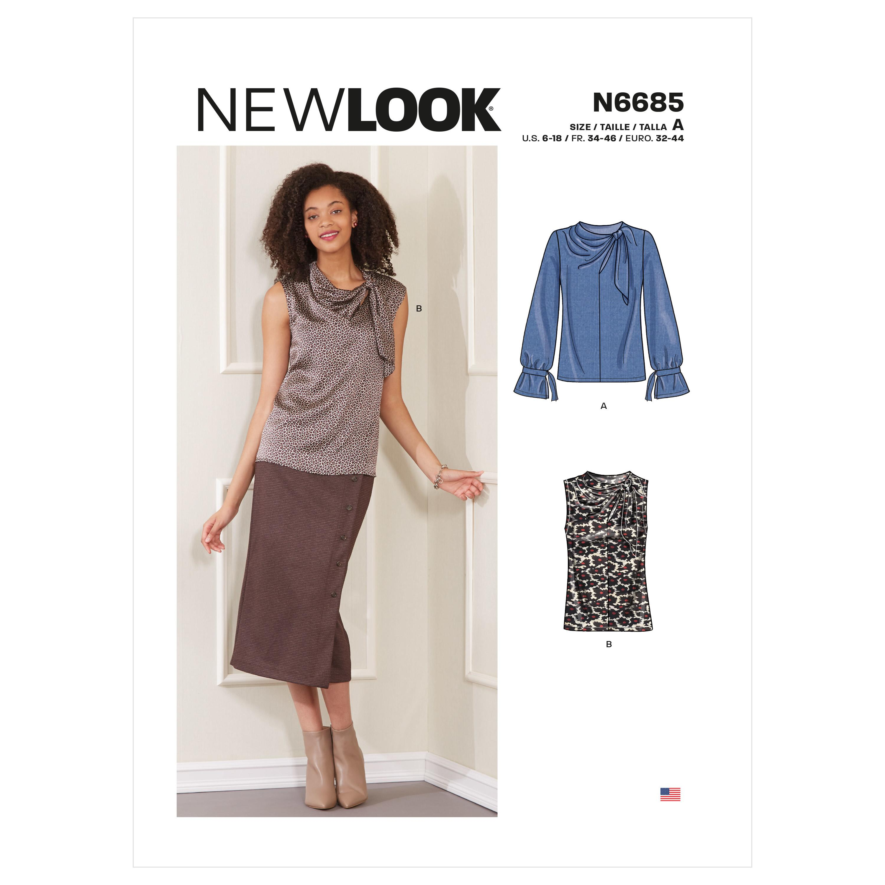 New Look Sewing Pattern N6685 Misses' Sleeveless Or Long-sleeved Tops