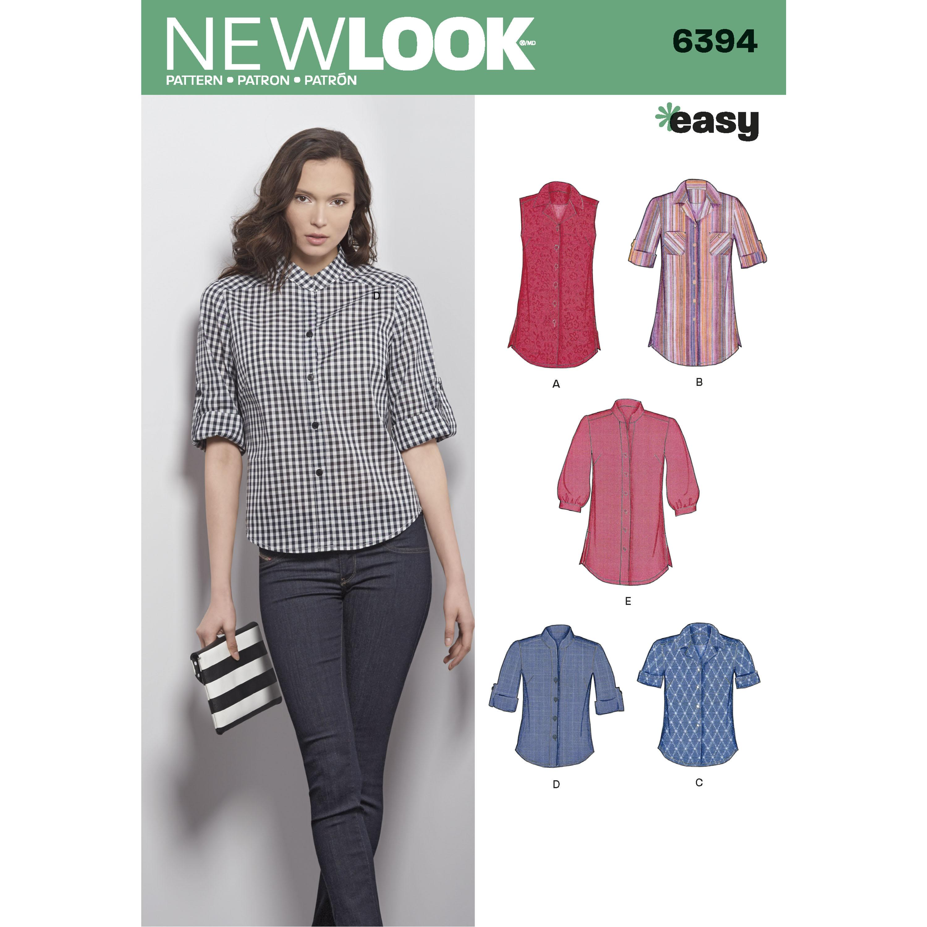 NewLook N6394 Misses' Button Front Tops