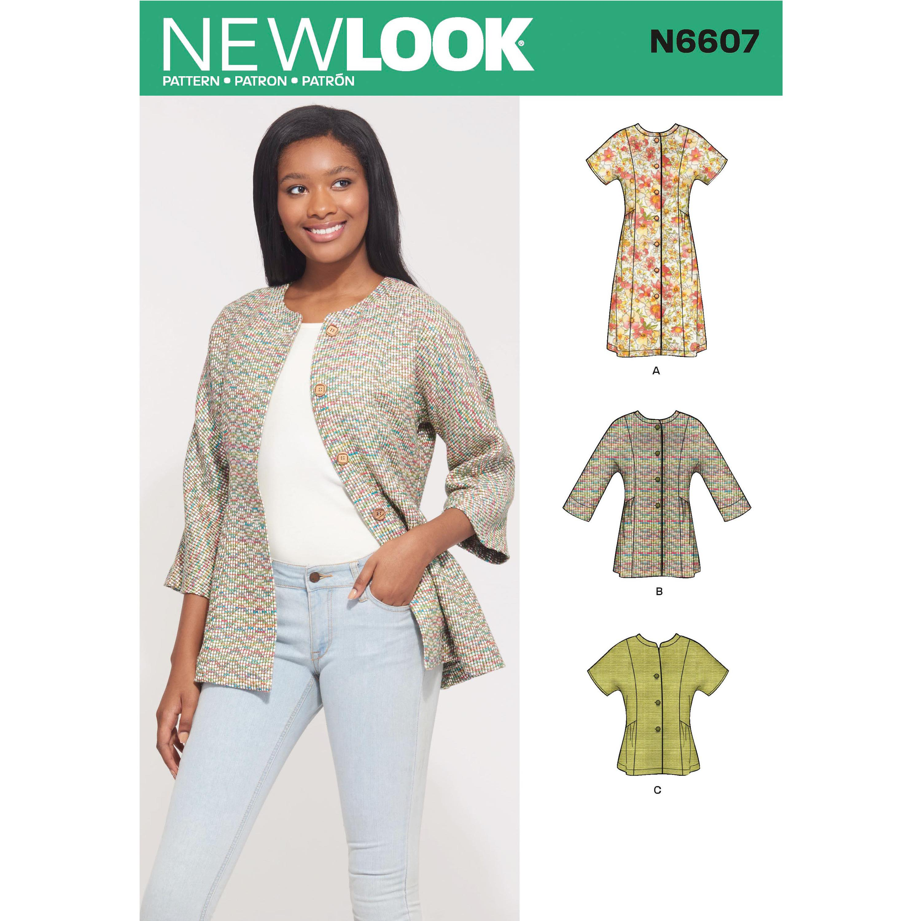 NewLook Sewing Pattern N6607 Misses' Mini Dress , Tunic and Top