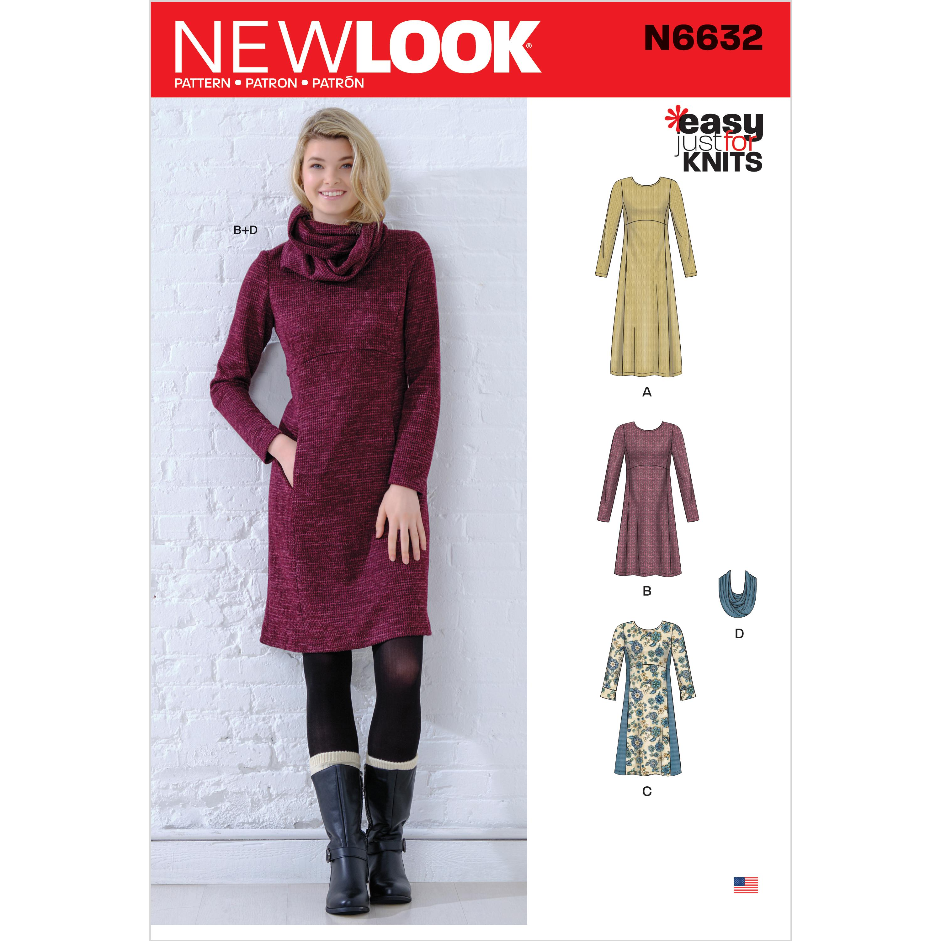 NewLook Sewing Pattern N6632 Misses' Knit Empire Dresses
