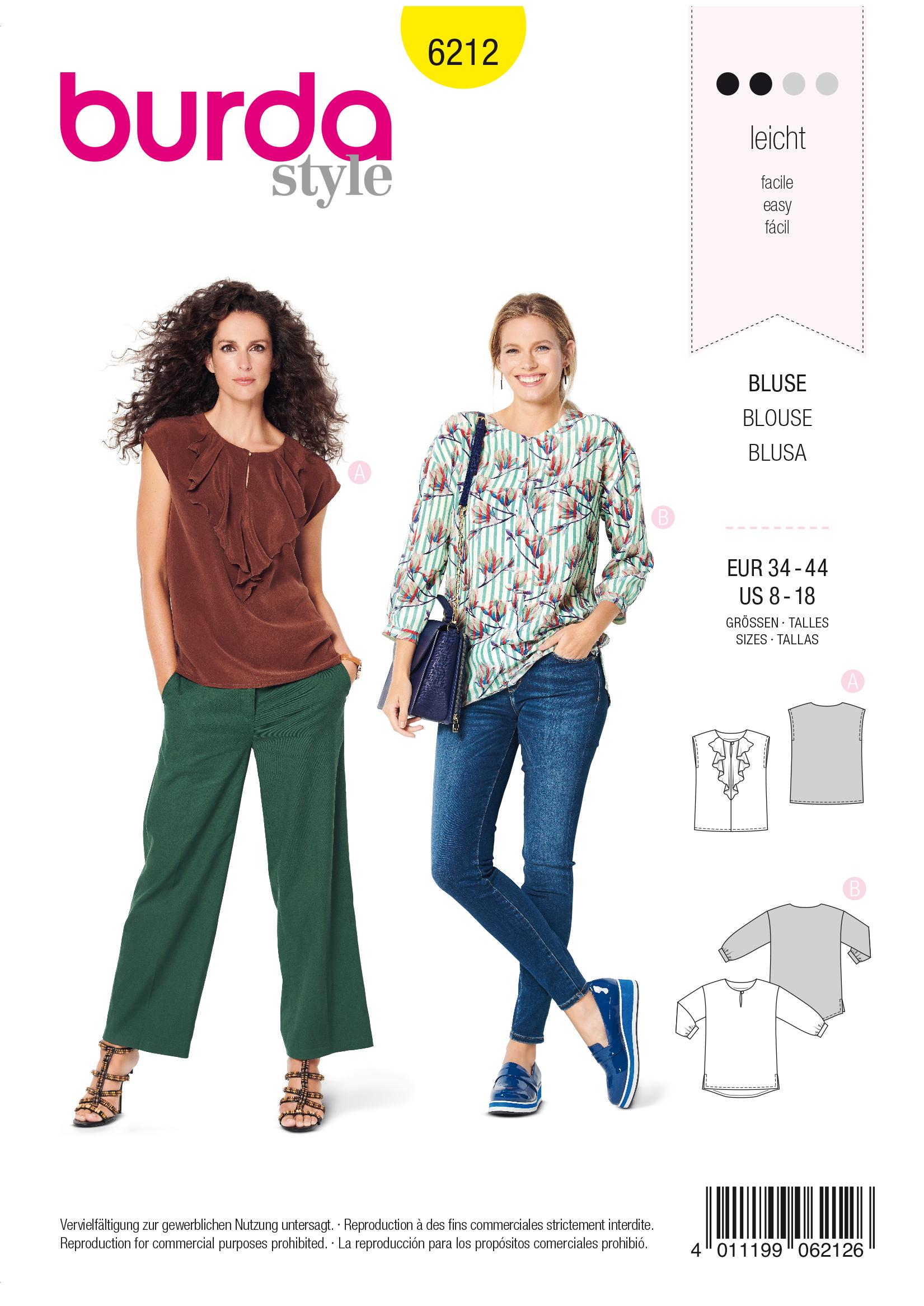Burda B 6212 Women's Blouse with Neckline Flounce Sewing Pattern
