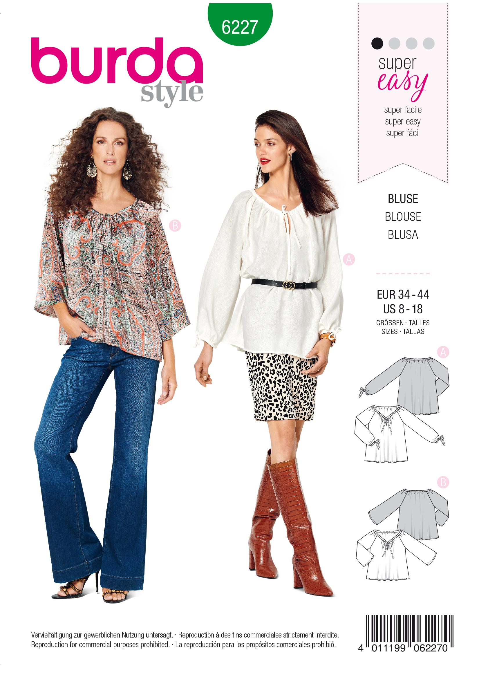 Burda B6227 Women's Blouse, Sewing Pattern