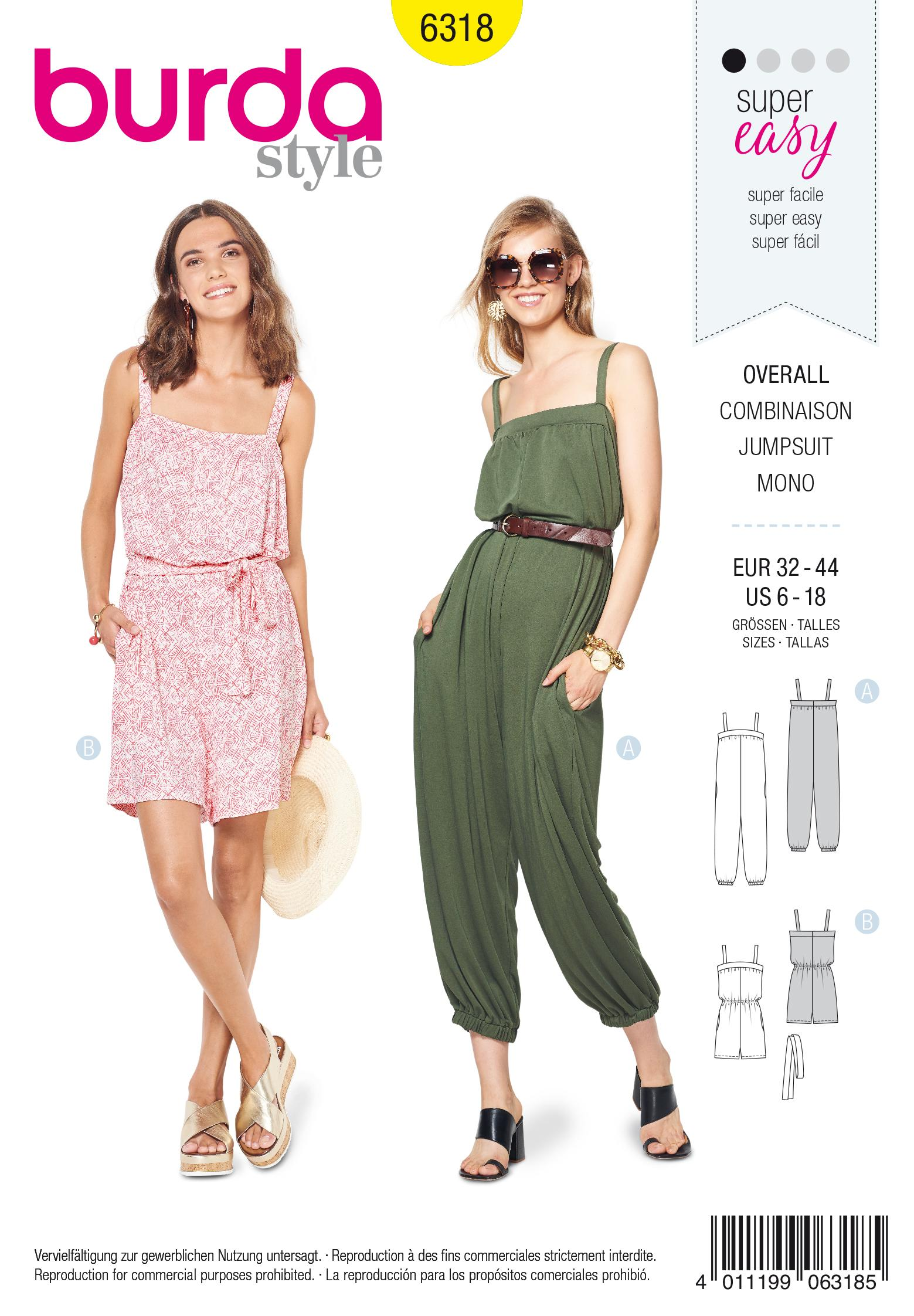 Burda 6318 Misses' jumpsuit
