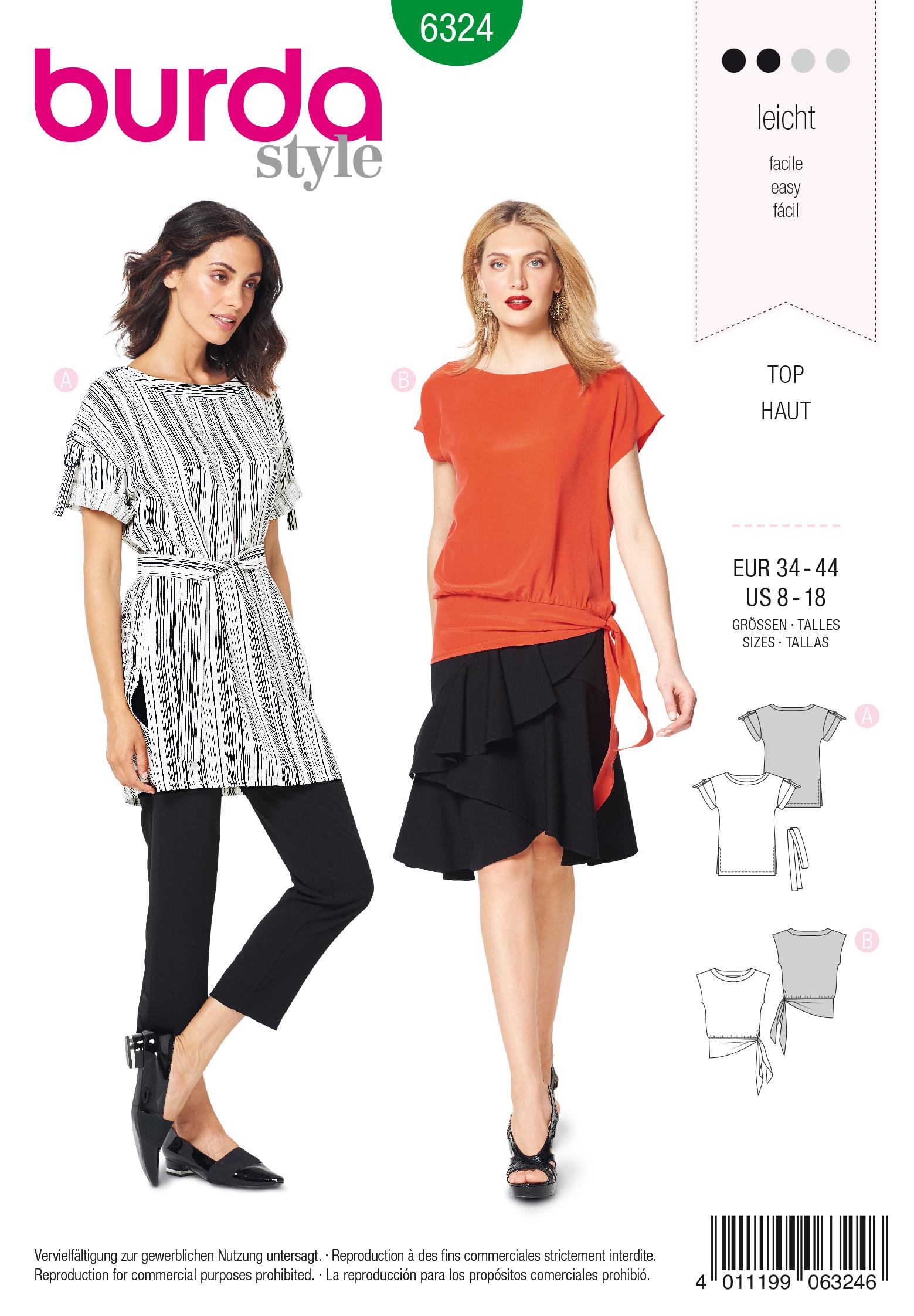 Burda 6324 Misses' side tie top