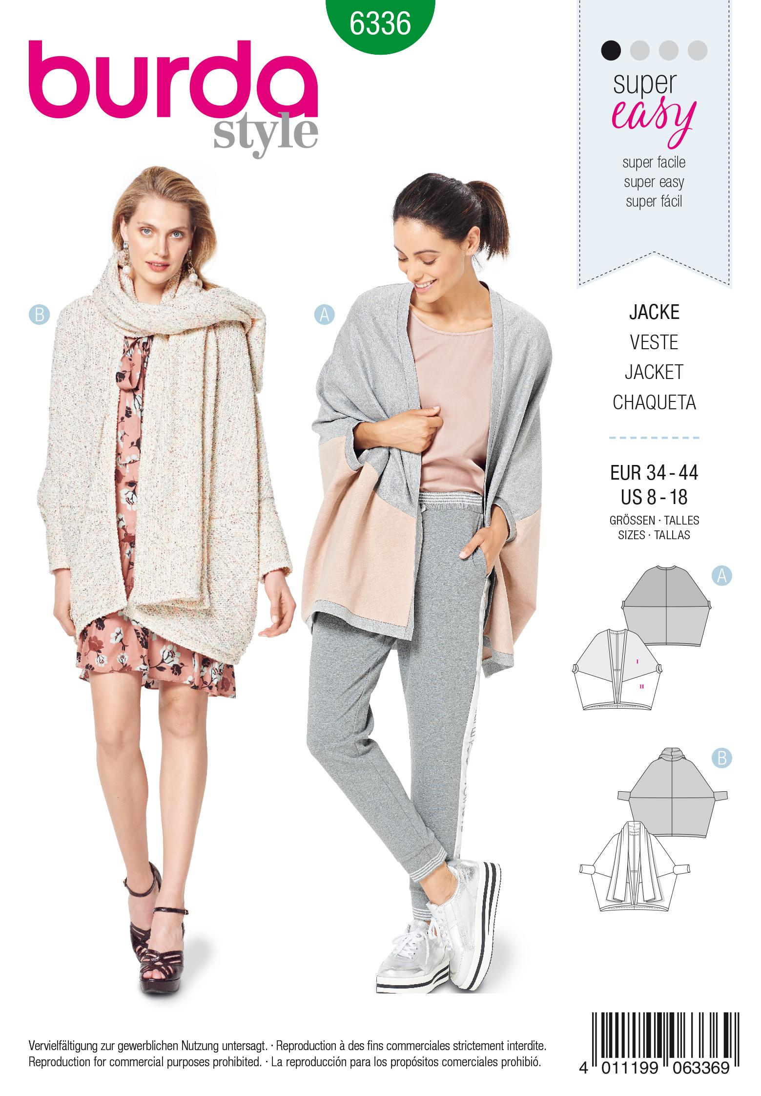 Burda 6336 Misses' over-sized jacket