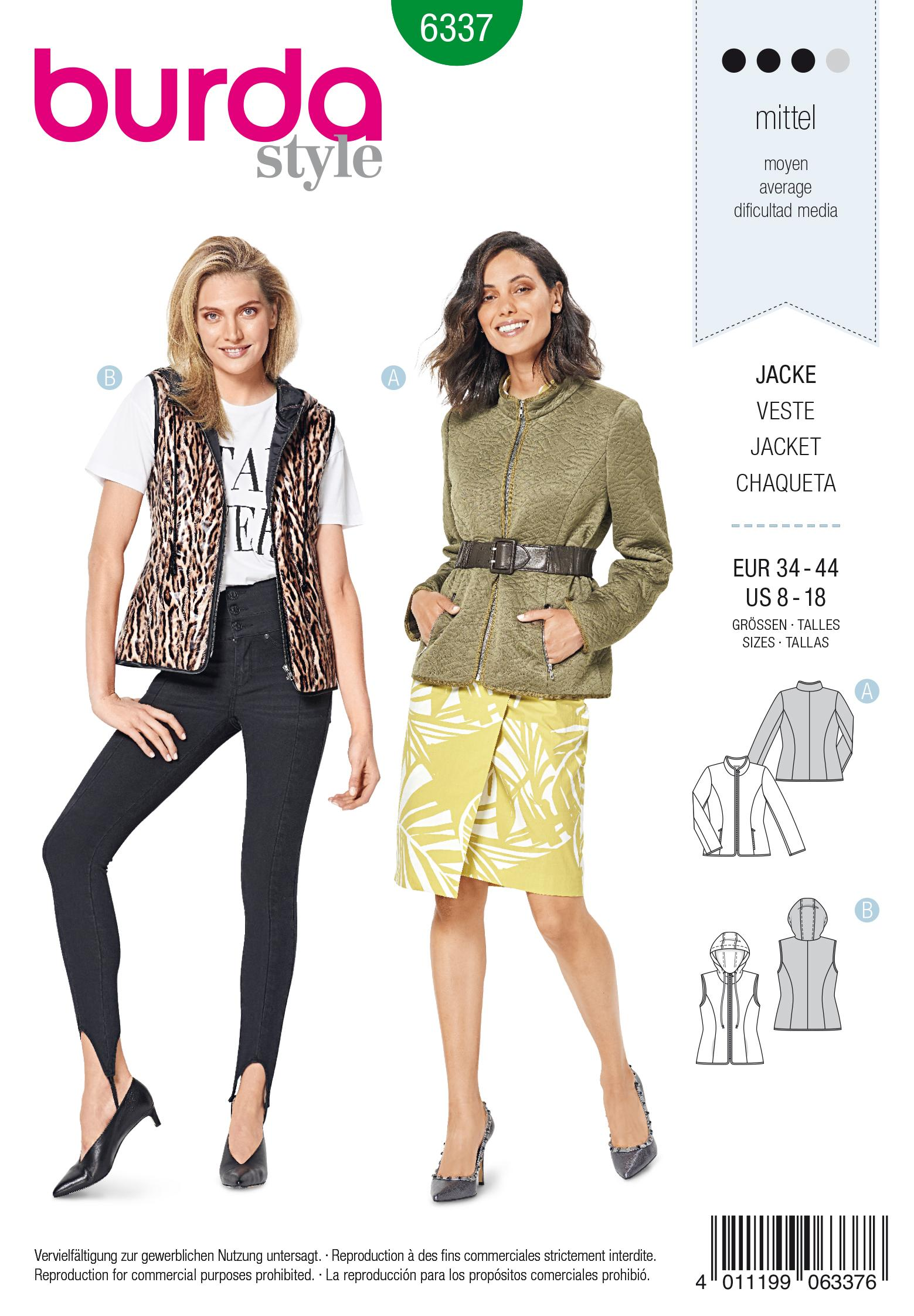 Burda 6337 Misses' quilted jacket