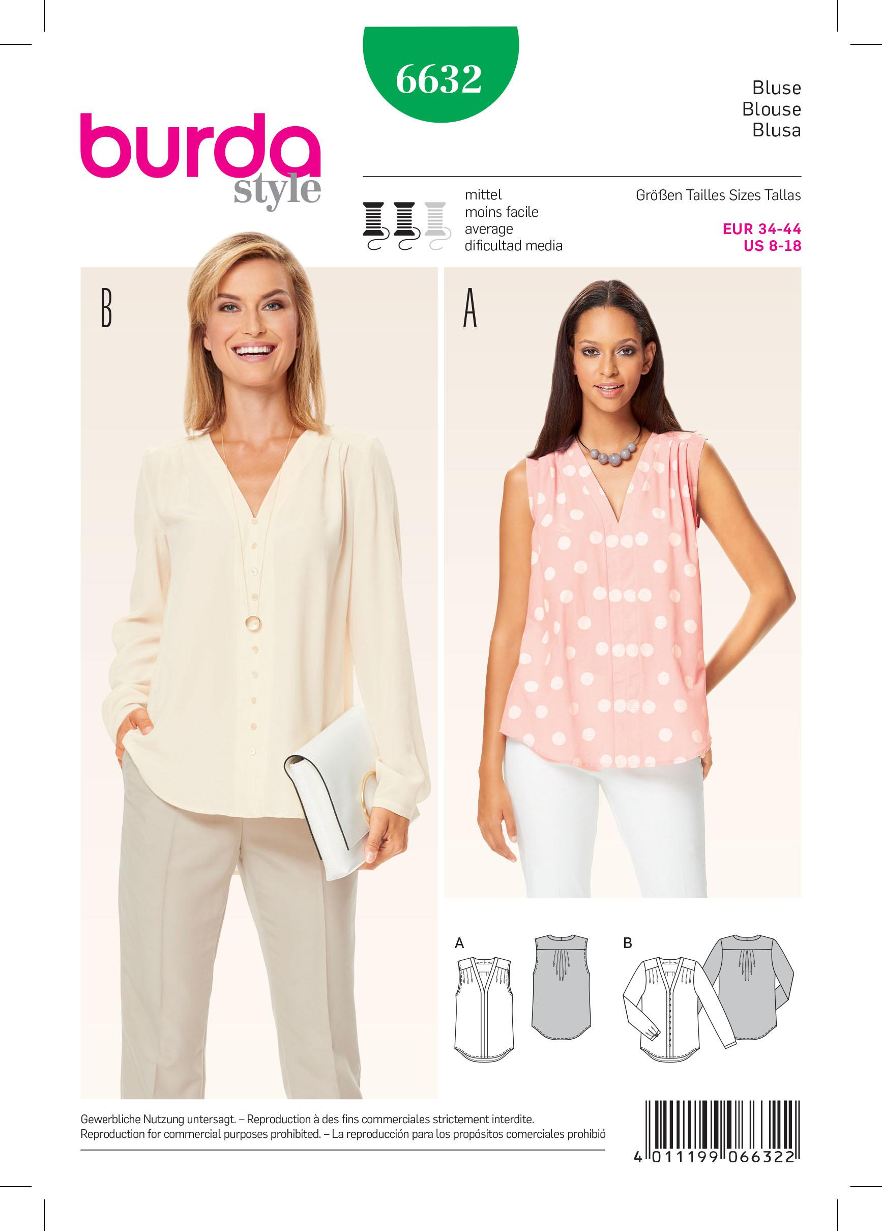 Burda B6632 Women's Blouse Sewing Pattern