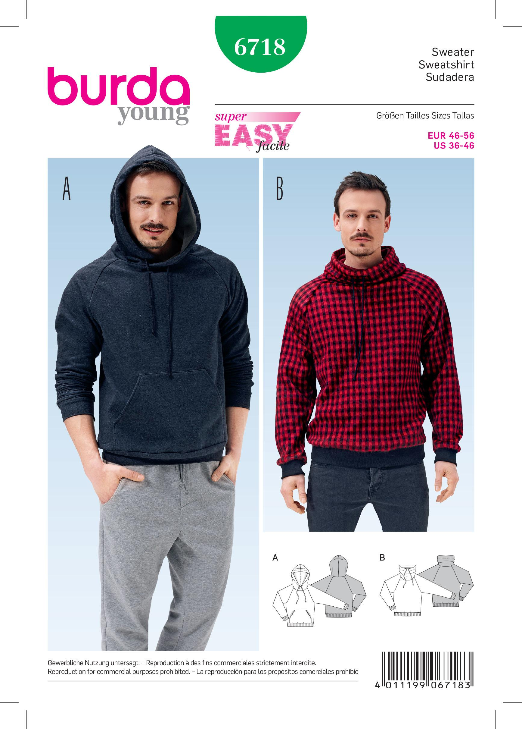 Burda B6718 Men's Pullover Hoodie Sewing Pattern