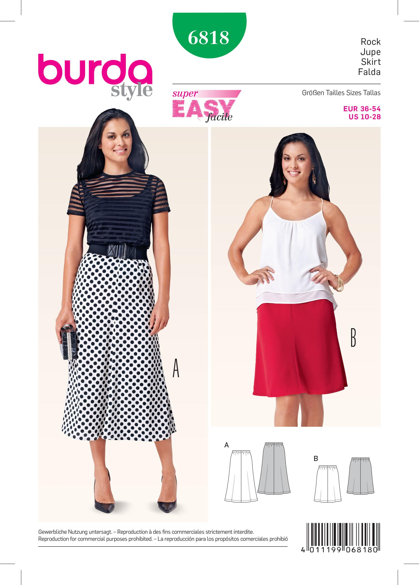 Burda B6818 Skirts Sewing Pattern