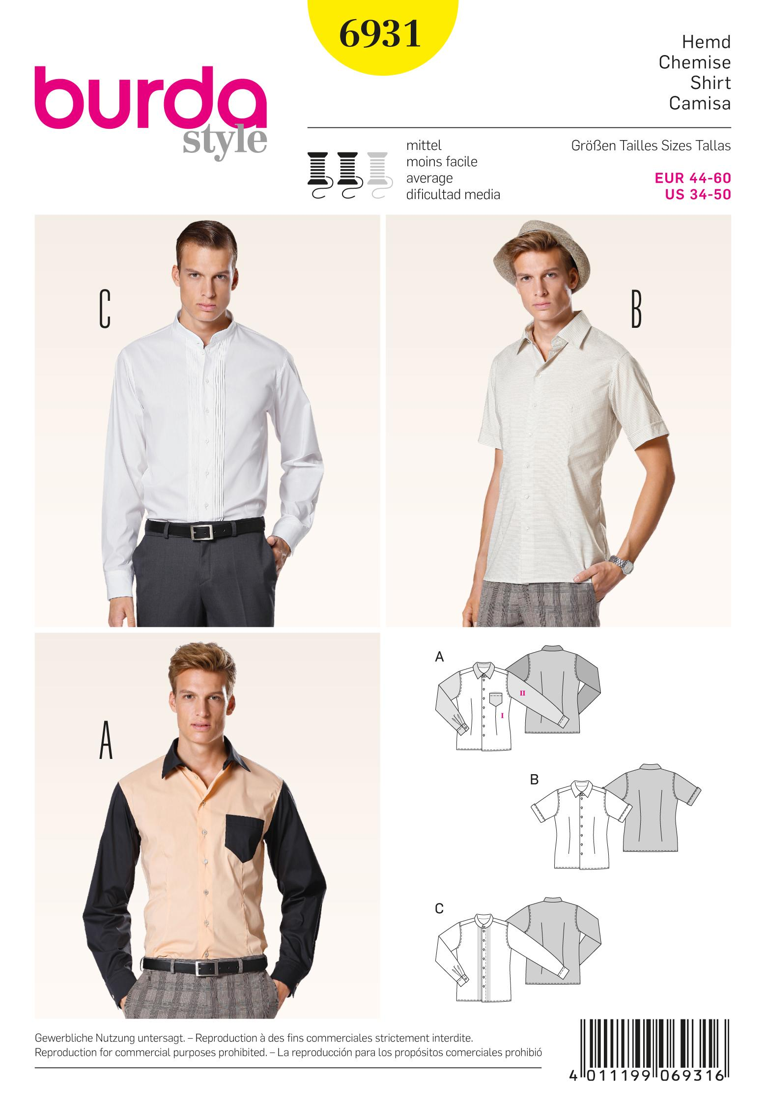 Burda B6931 Burda Menswear Sewing Pattern