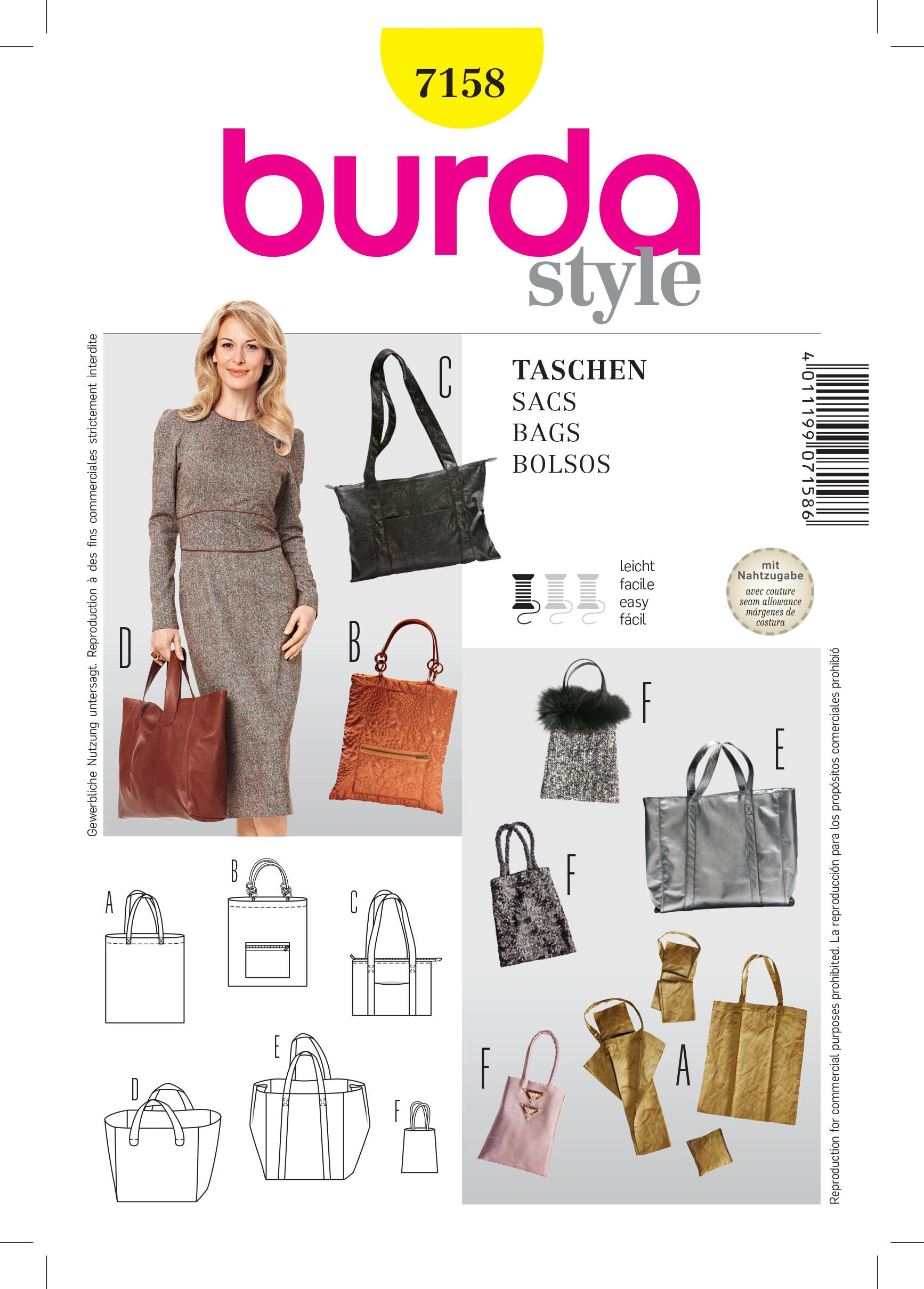 Burda B7158 Shopping Bag Sewing Pattern