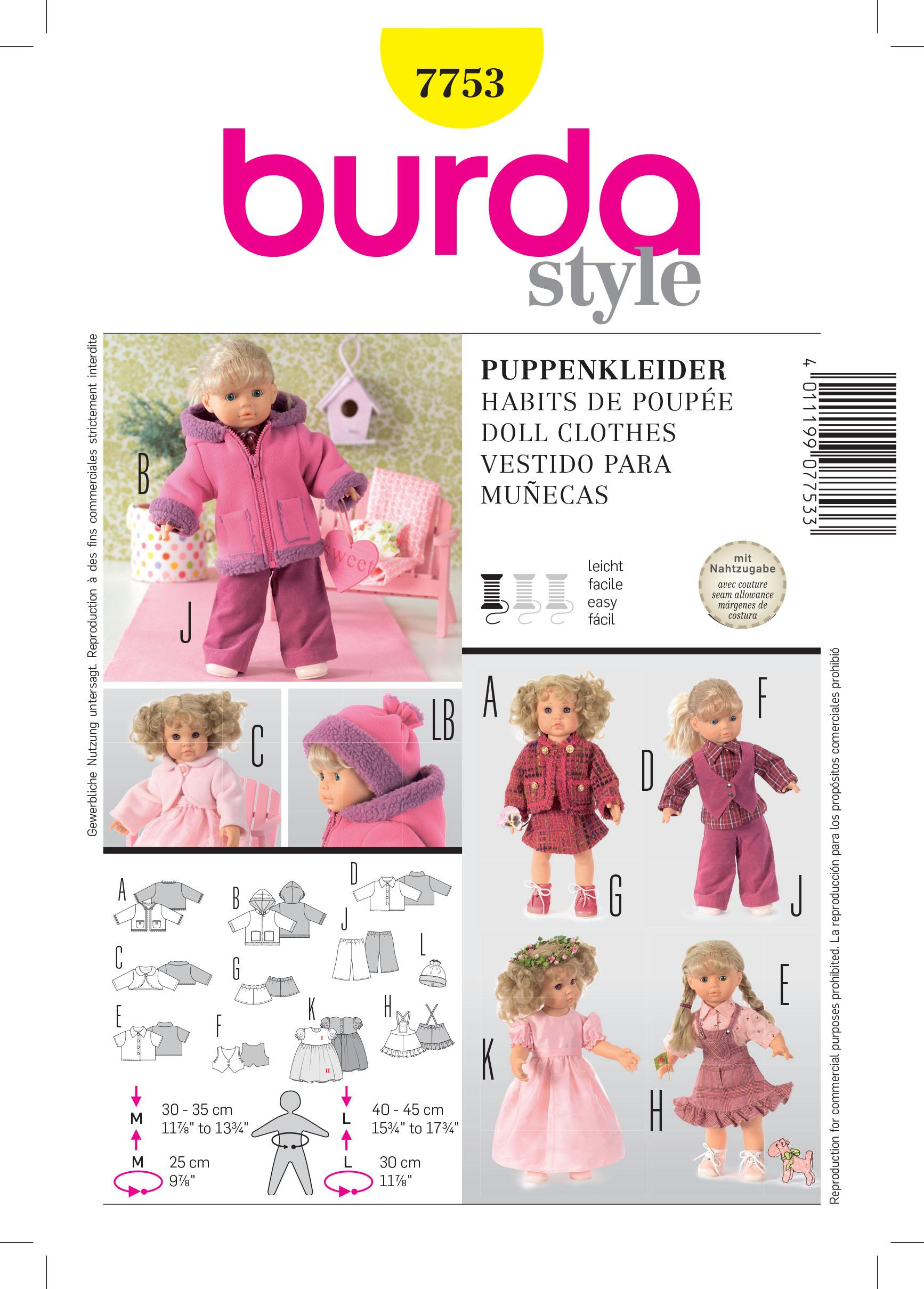 Burda B7753 Doll Clothes Sewing Pattern