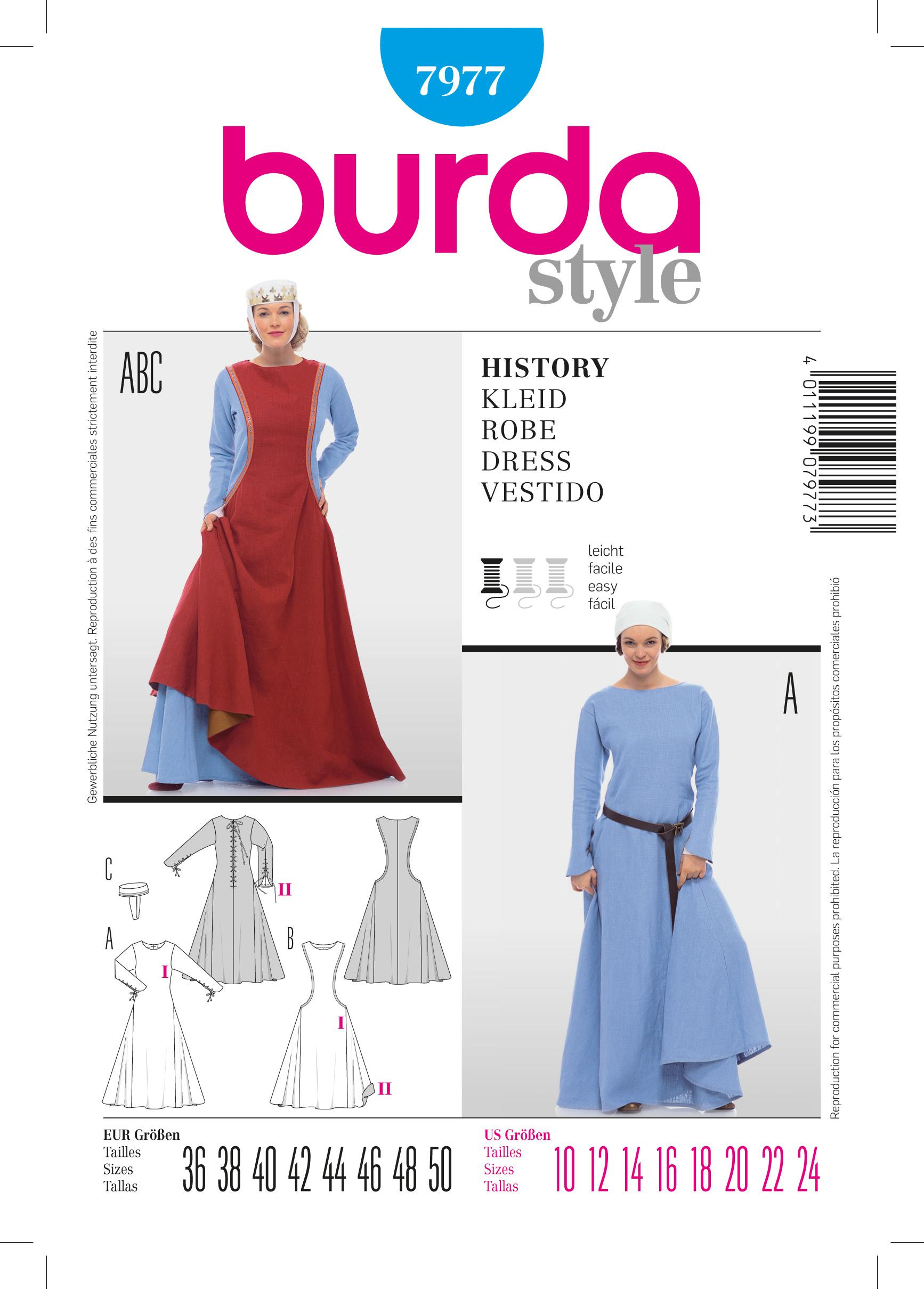Burda B7977 History Dress Sewing Pattern
