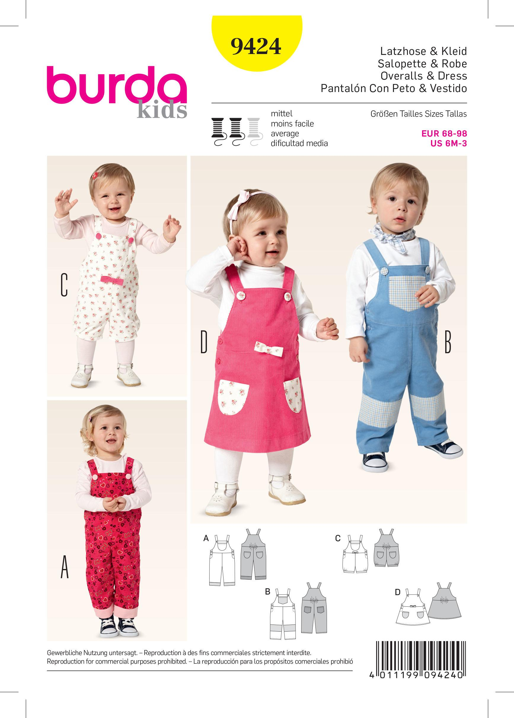 Burda B9424 Baby Sewing Pattern