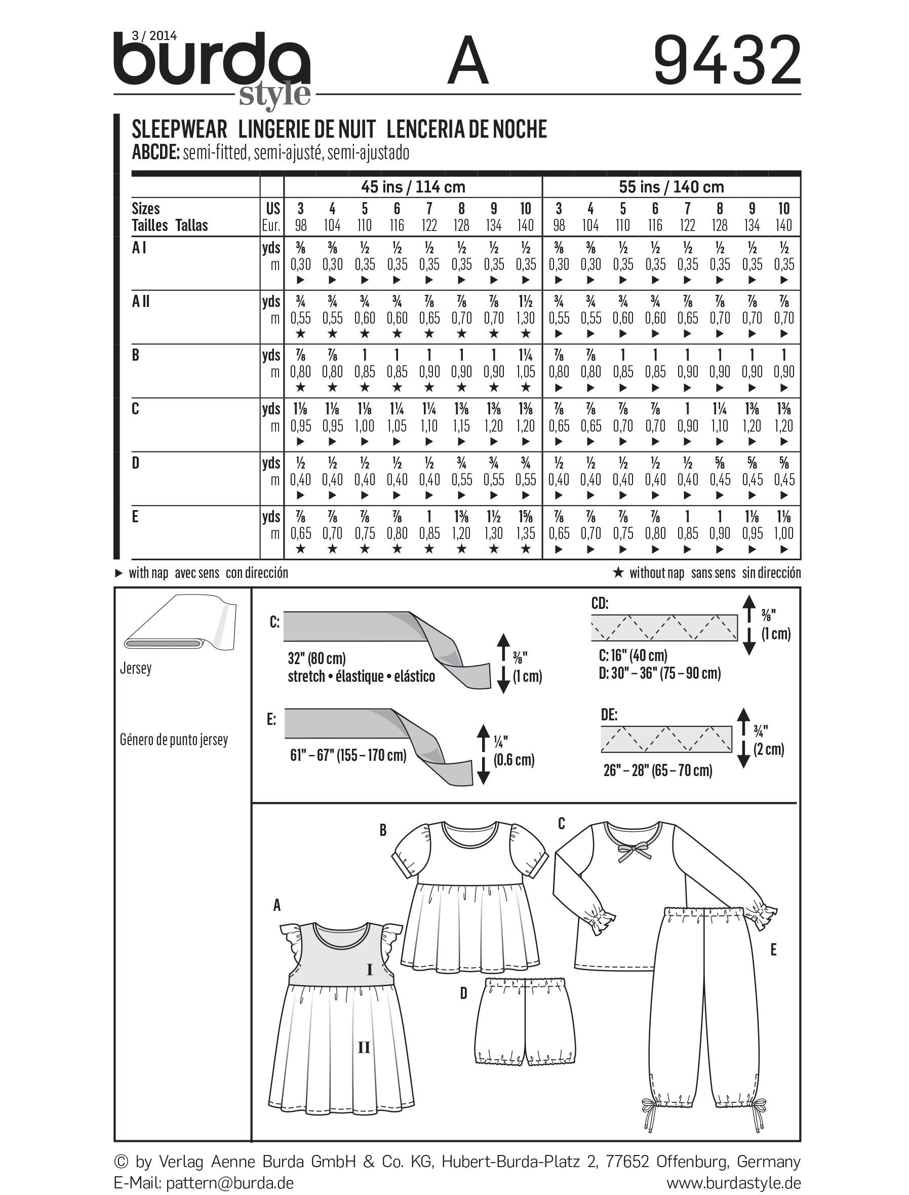Burda B9432 Homewear Sewing Pattern