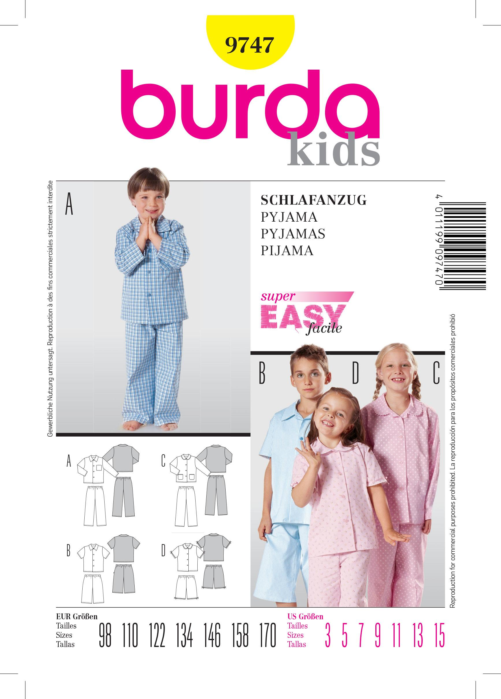 Burda B9747 Pyjamas Sewing Pattern