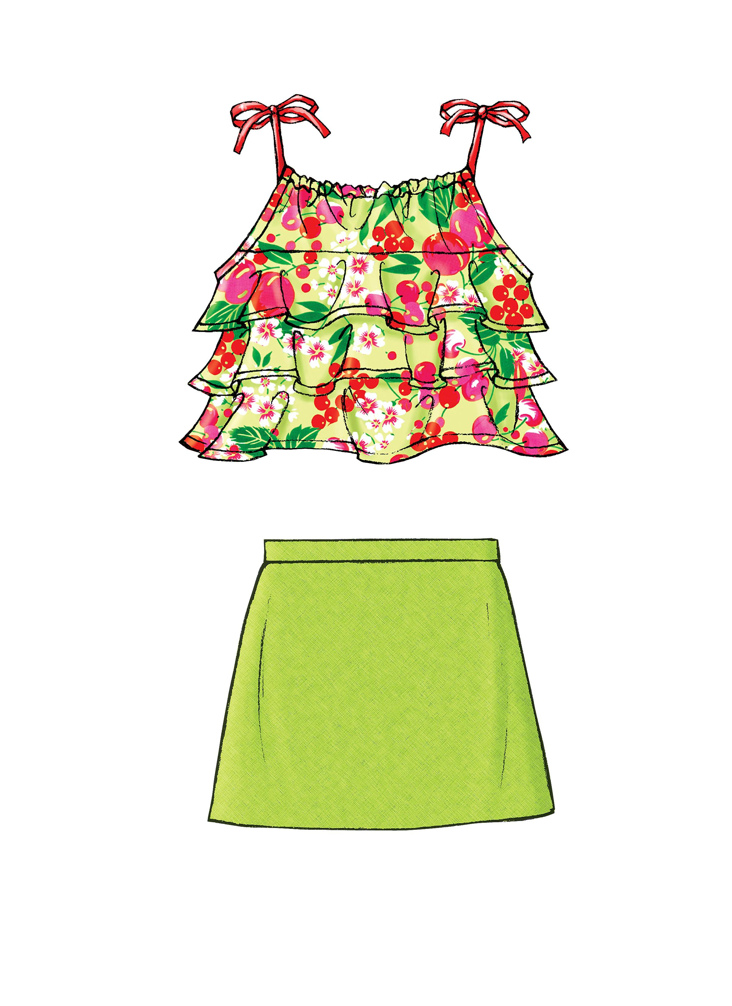 Butterick B4503 Children's/Girls' Top, Skort and Shorts