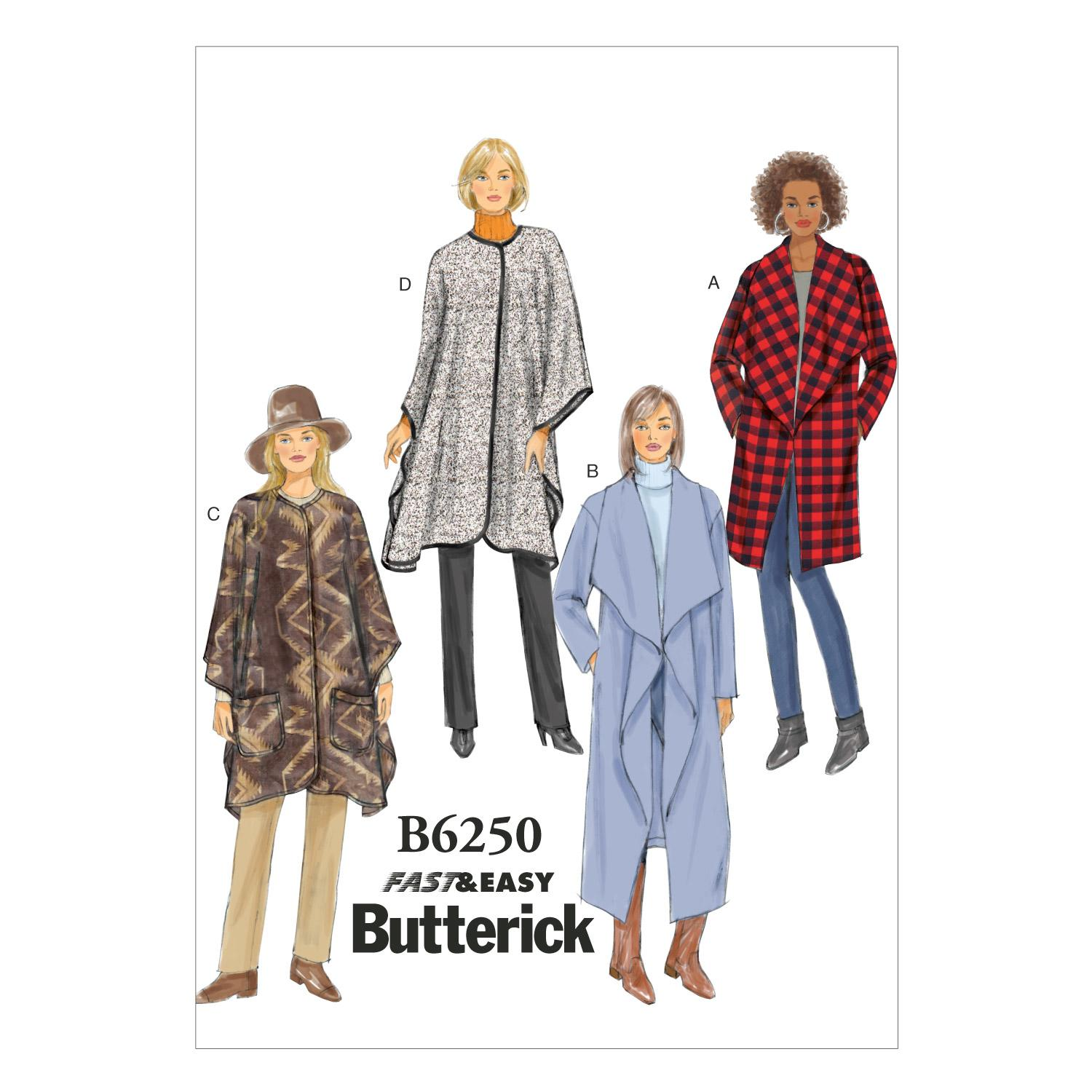 Butterick B6250 Misses' Jacket, Coat and Wrap