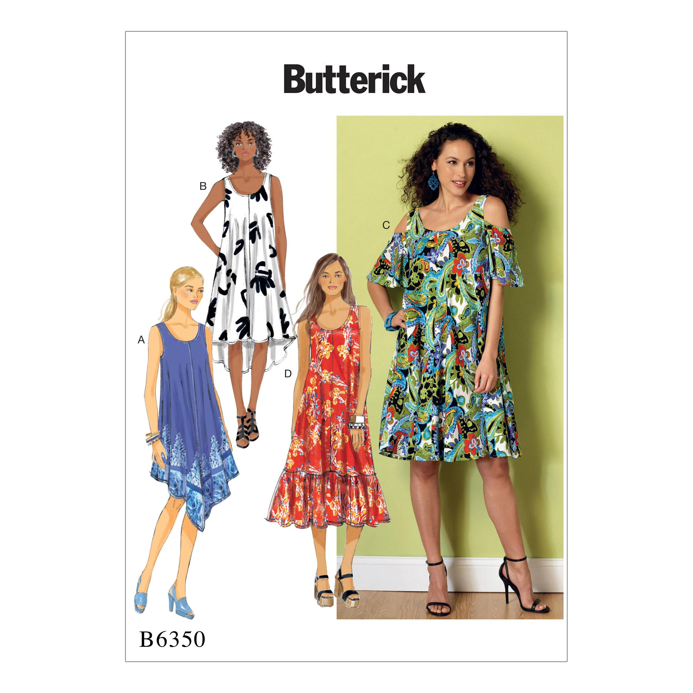 Butterick B6350 Misses' Sleeveless and Cold Shoulder Dresses