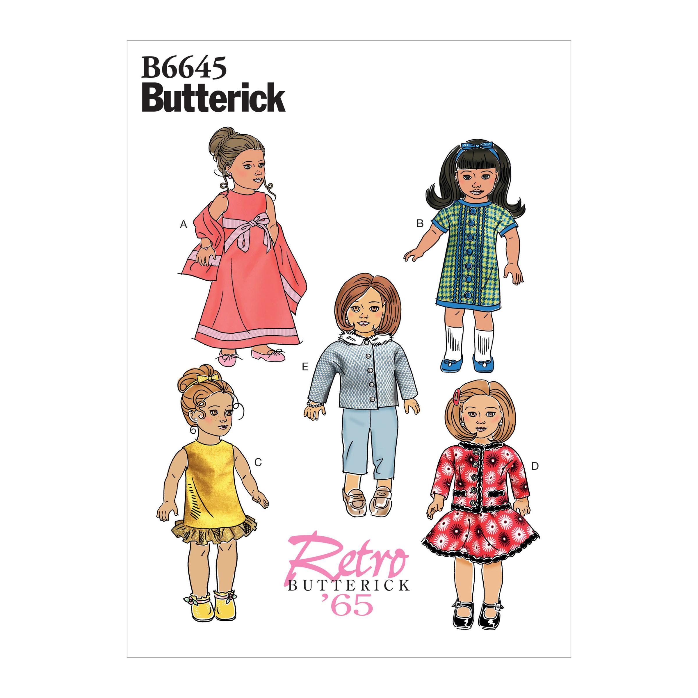 "Butterick B6645 Clothes For 18"" Doll"