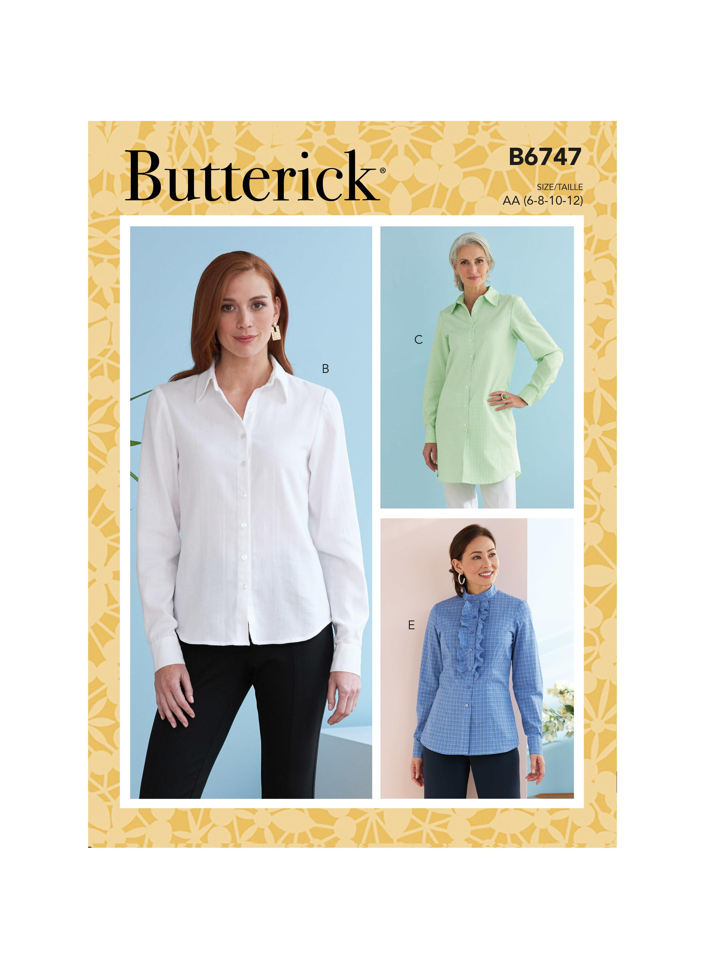 Butterick B6747 Misses' Button-Down Collared Shirts