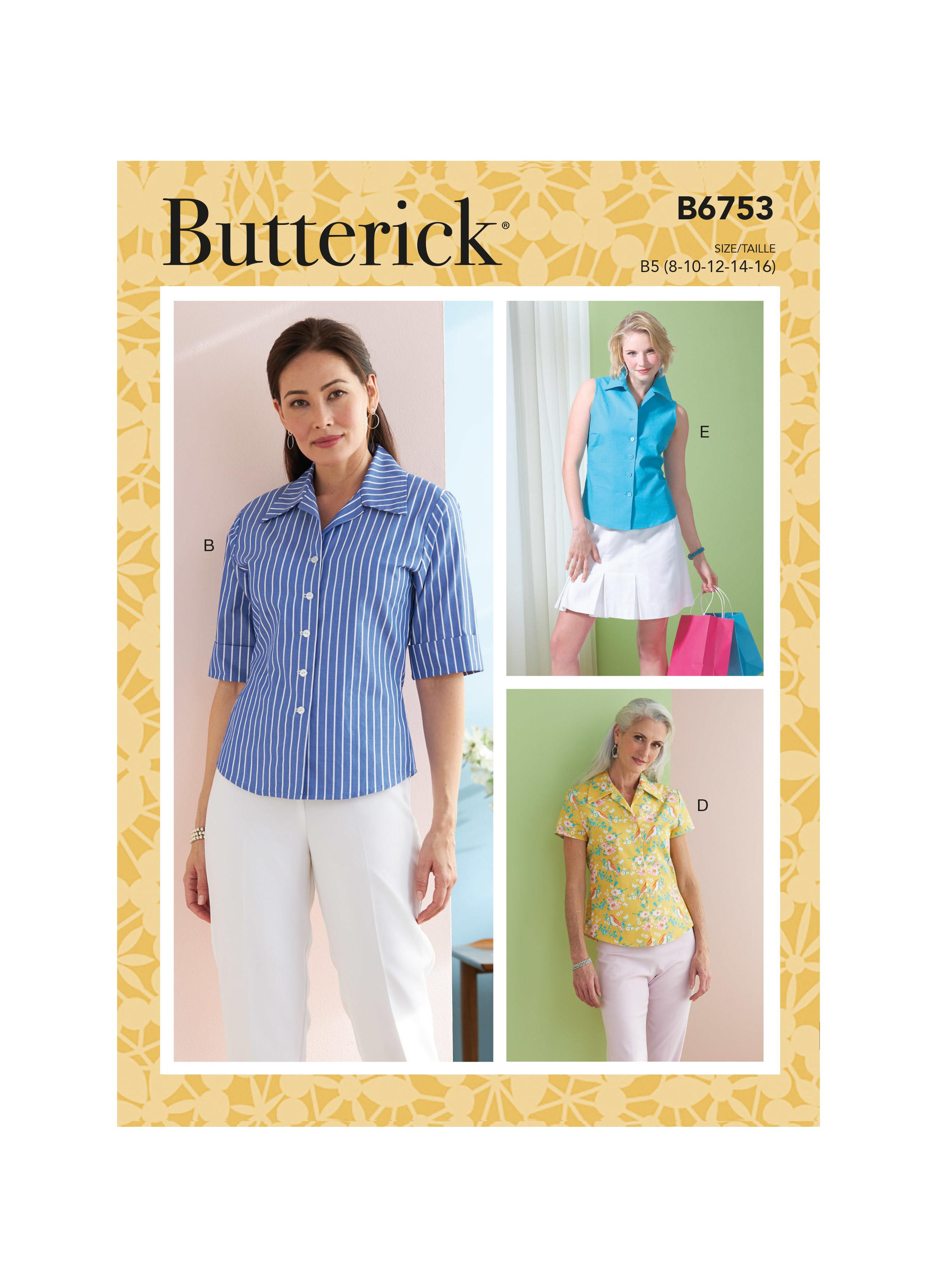 Butterick B6753 Misses'/Misses' Petite Button-Down Shirts