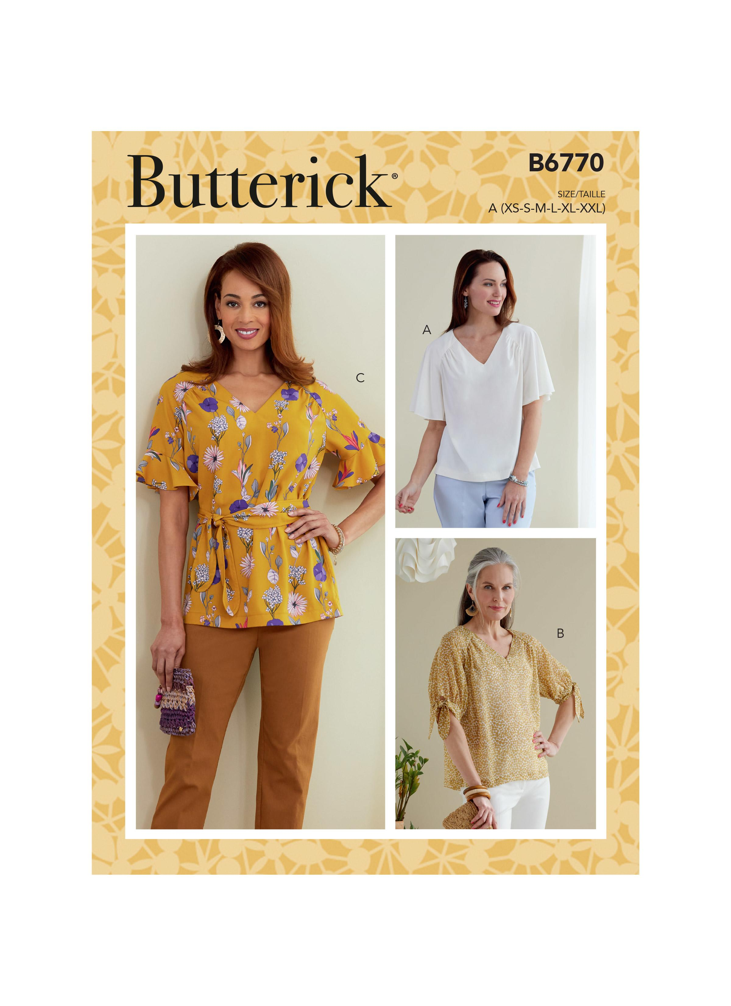 Butterick B6770 Misses' Tops and Sash