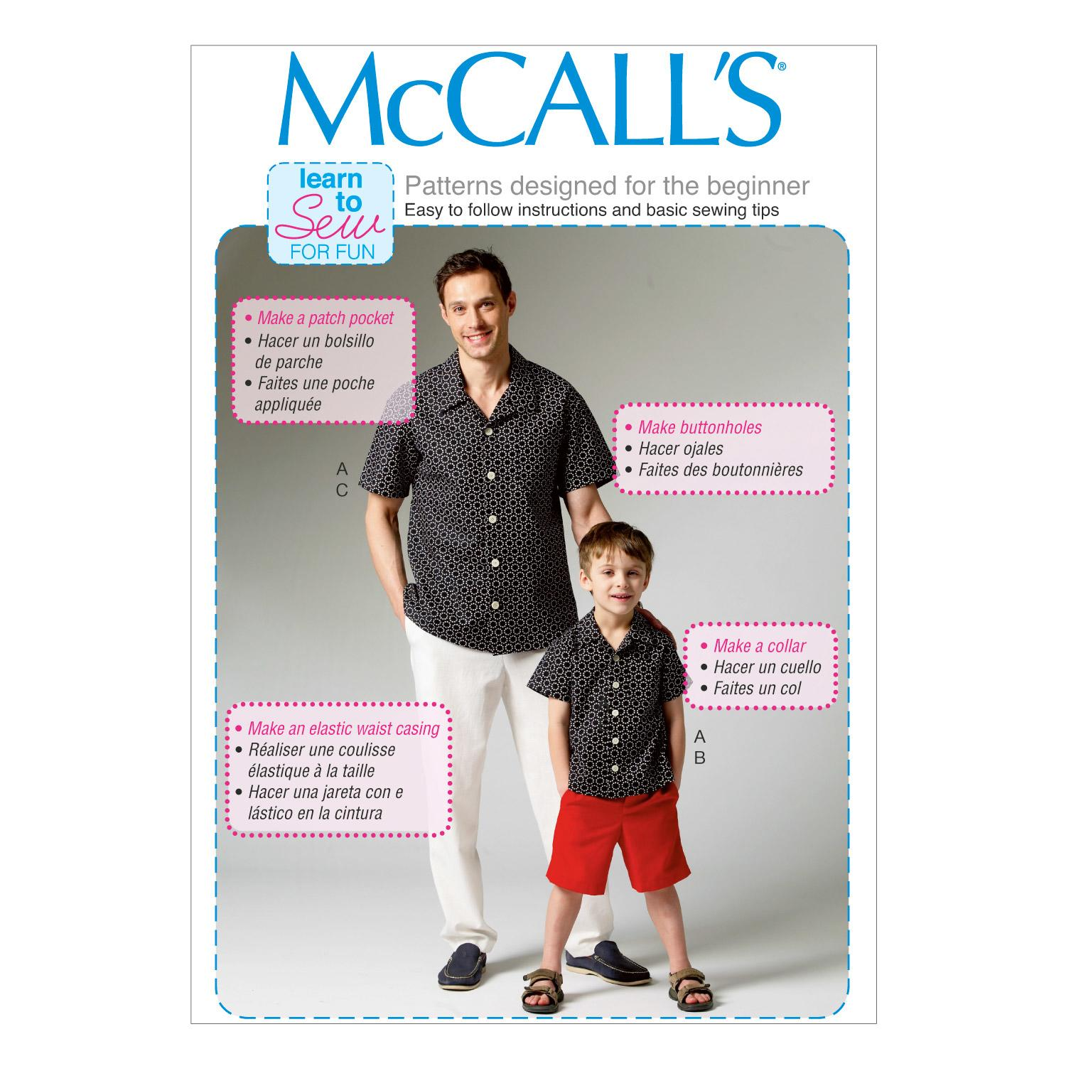McCalls M6972 Boys, Girls/Boys, Learn To Sew for Fun, Learn to Sew<Br for Fun, Men, Men/Boys